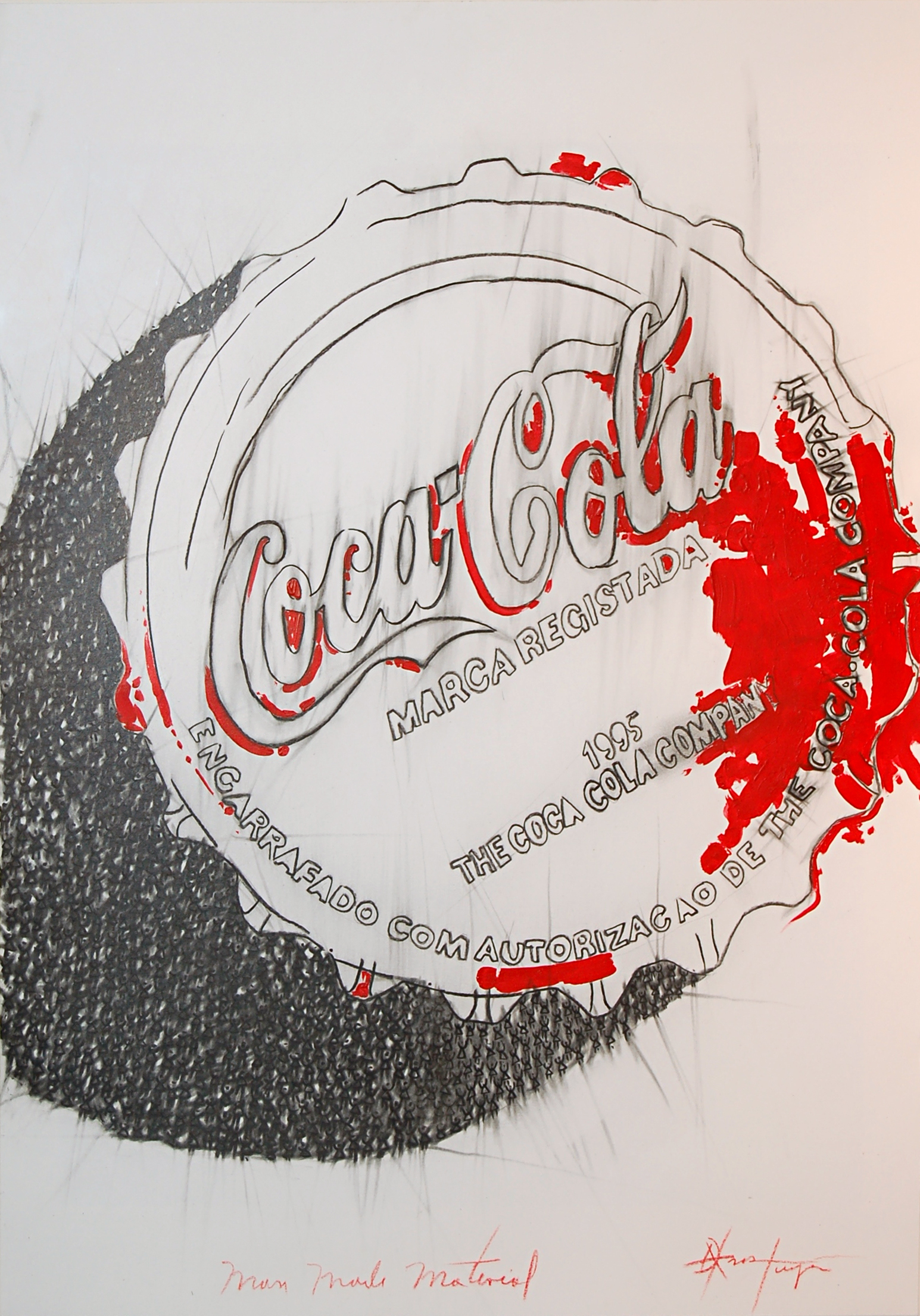 Dalvis Tuya, Man Made Material Series #1 (Coca Cola), Charcoal and Watercolour on Paper, 2014, 45 x 61 cm