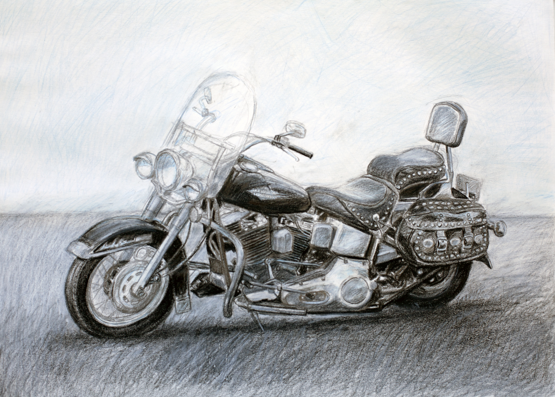 "Michael Boss,  Softail , coloured pencil, 18"" x 24"", 2013"
