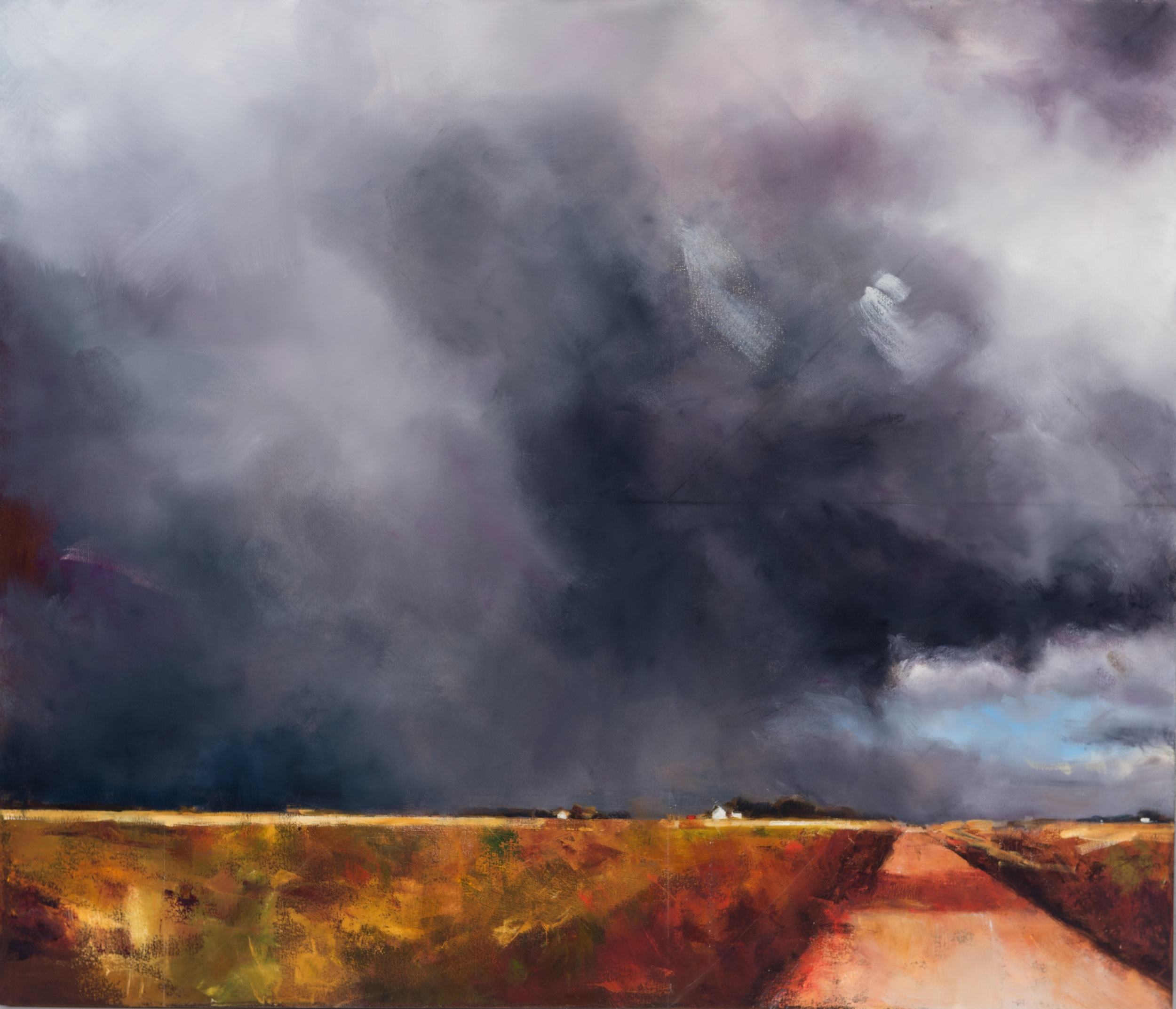 """CLICK TO ENLARGE  Grey Sky , oil on canvas, 36"""" x 42"""""""