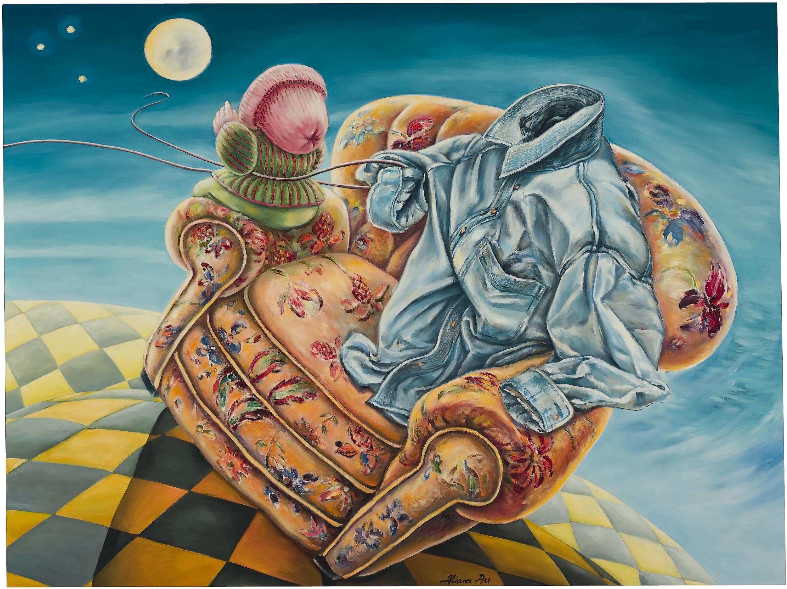 AA-042, Aliana Au, On The Chair No. 9, 2006, Oil on Canvas, 50x38cm, $7,000