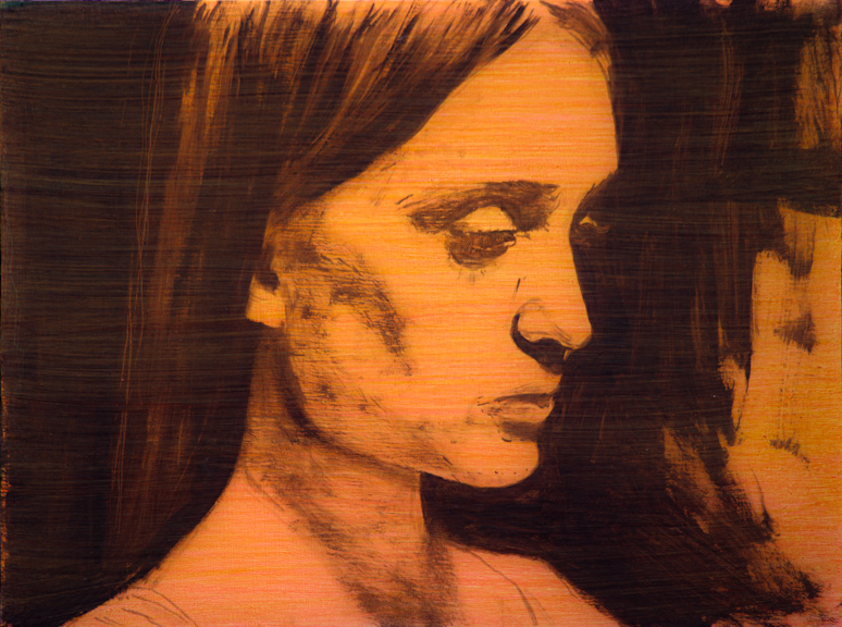 """Painting is History #6 (Orange Girl), Oil on Board, 2012, 12"""" x 9"""""""