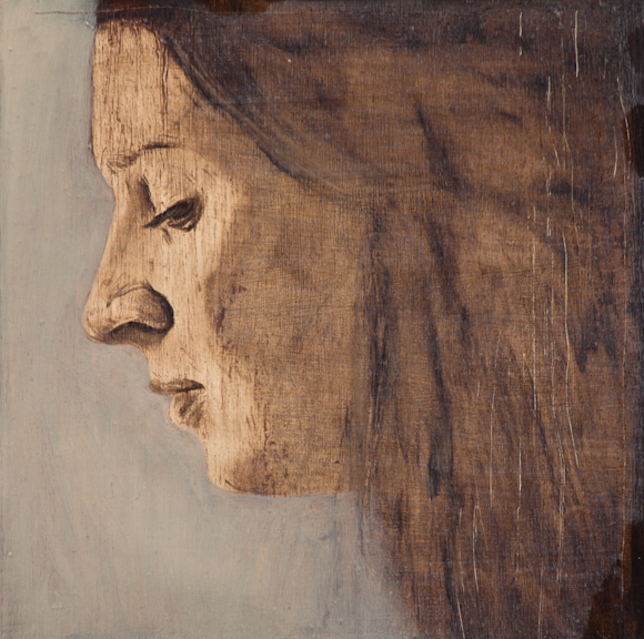 """Painting is History #5 (Carla), Oil on Board, 2012, 8"""" x 8"""", SOLD"""