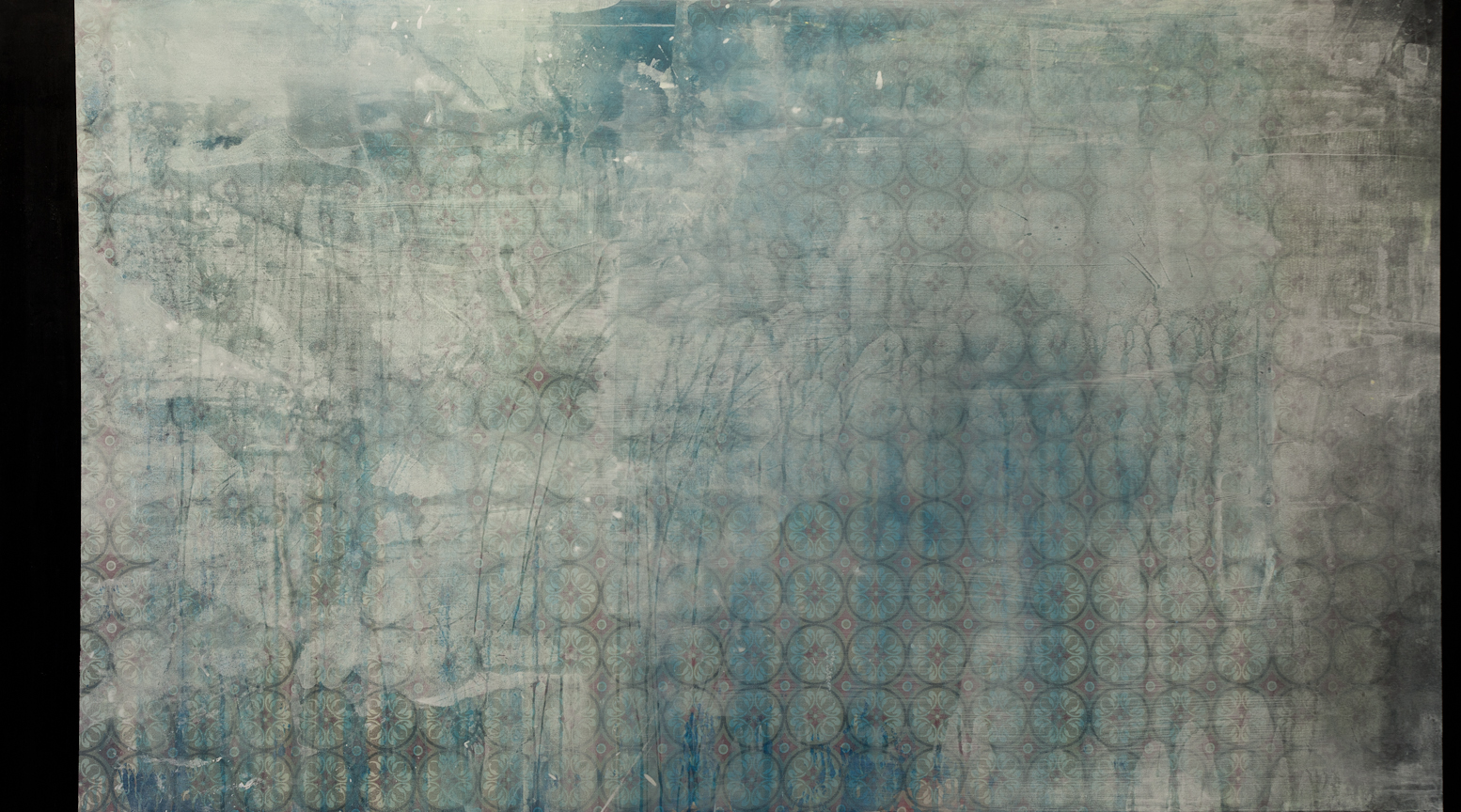 "6777, Acrylic and Oil on Printed Fabric, 72"" x 42"", 2013"