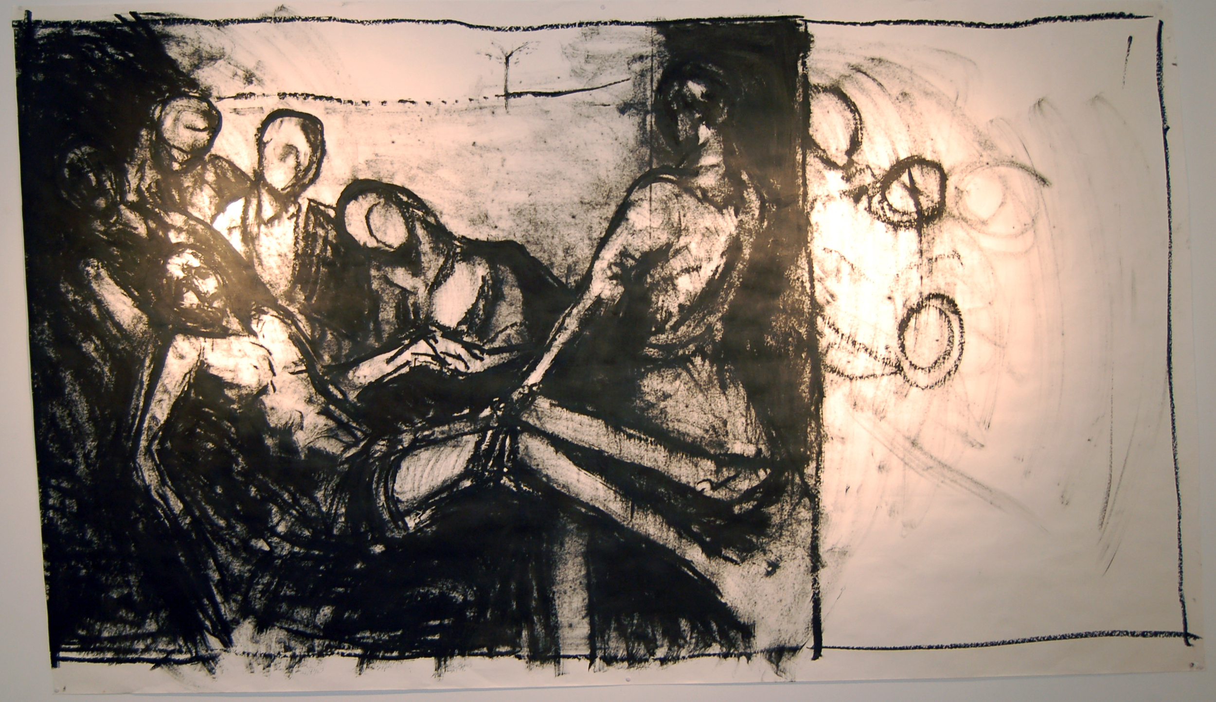 "Entombment #3, Oil Bar on Paper, 2013, 100"" x 60"""