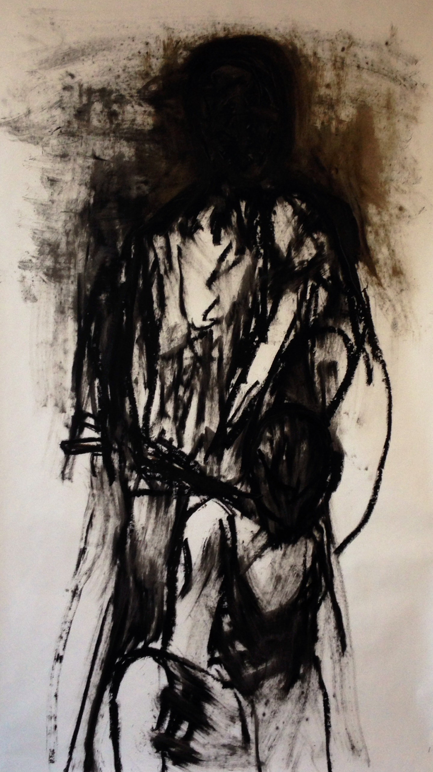 "Abraham and Isaac (Second Version), Oil Bar on Paper, 2013, 42"" x 65"", SOLD"