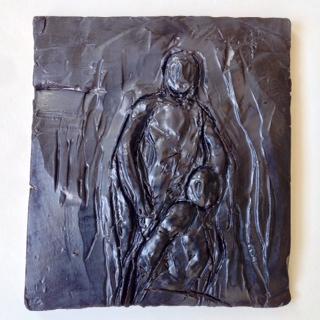 "Abraham and Isaac, Ceramic Sculpture,2014, 9"" x 9"", $1,000"