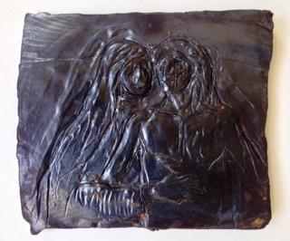 """Pieta, Ceramic Sculpture, 2014 9"""" x 6"""", $1,000"""