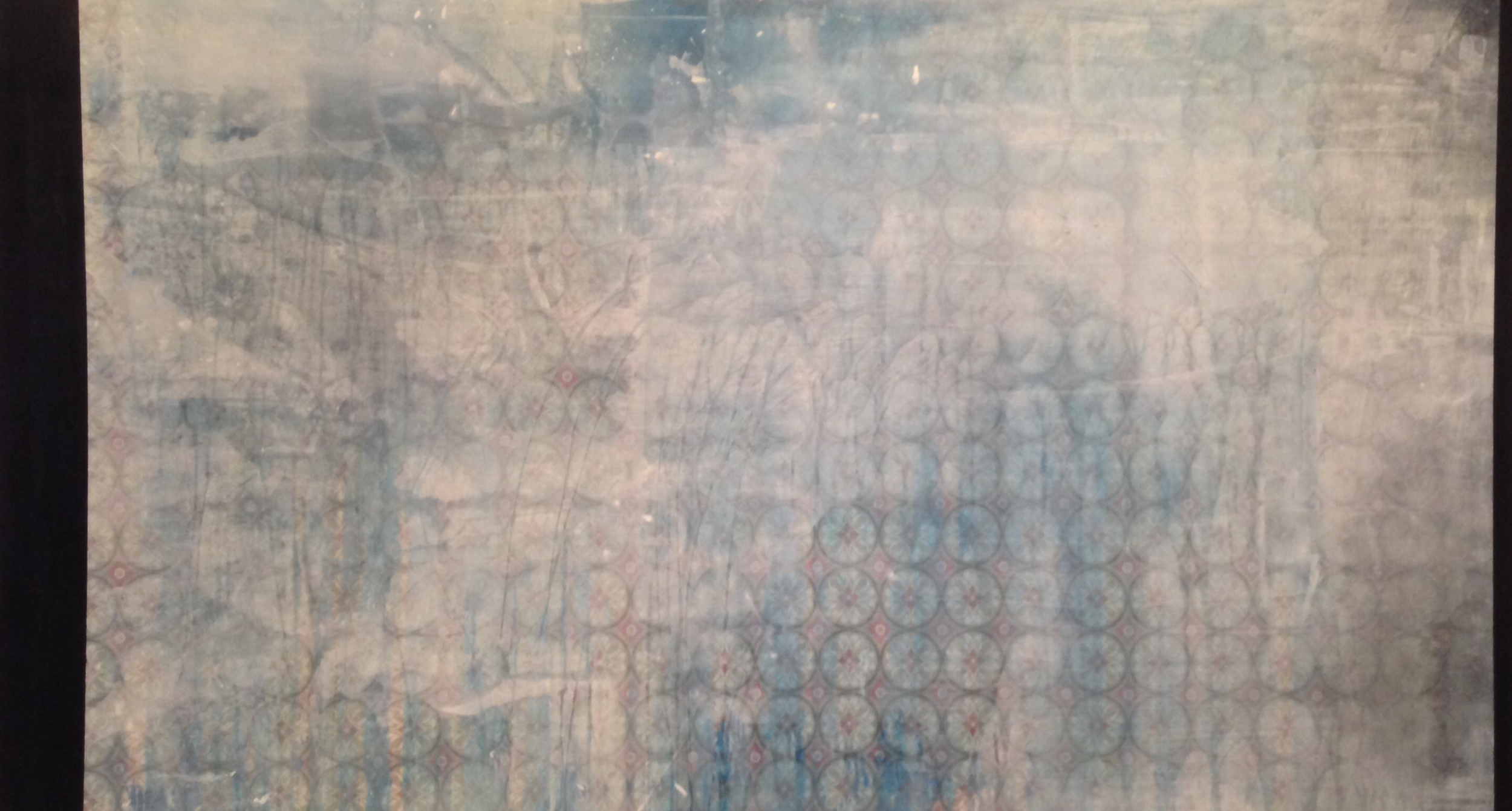 """1846, oil and acrylic on printed fabric, 2014, 72"""" x 40"""", $6,000"""