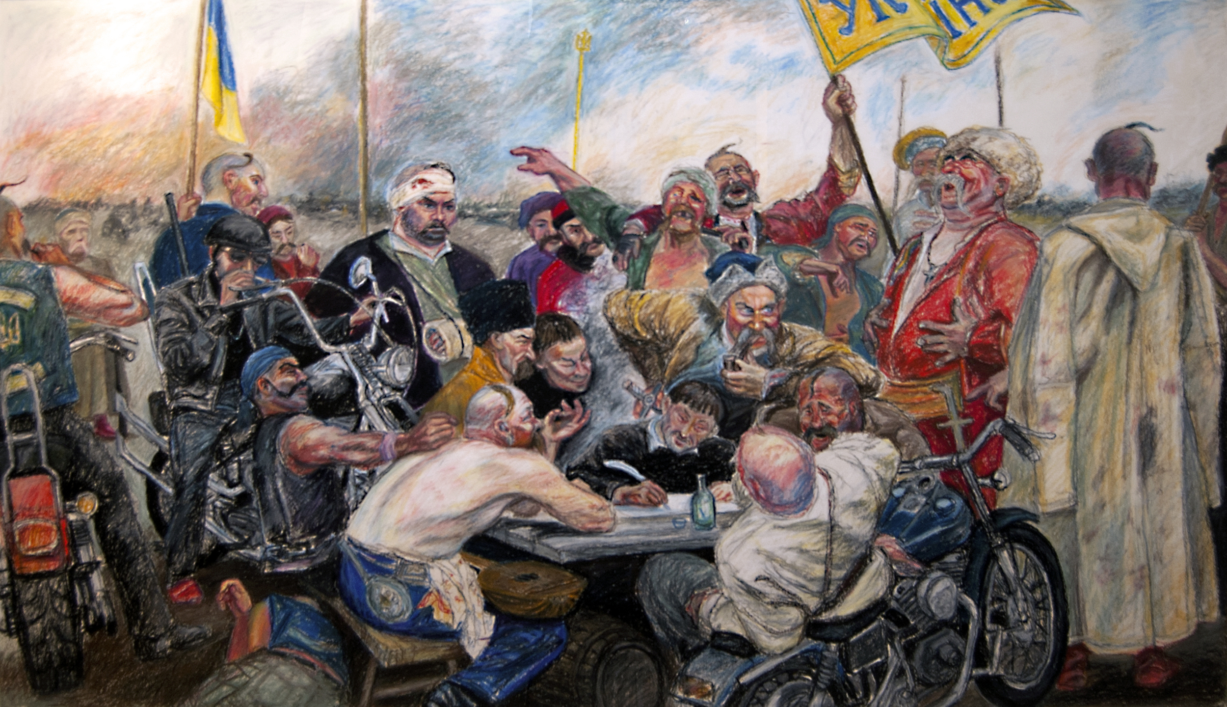 "Ukrainian Kozaks send a letter to putin (after Ilia Repin), oil pastel on paper, 2014, 60"" x 40"""