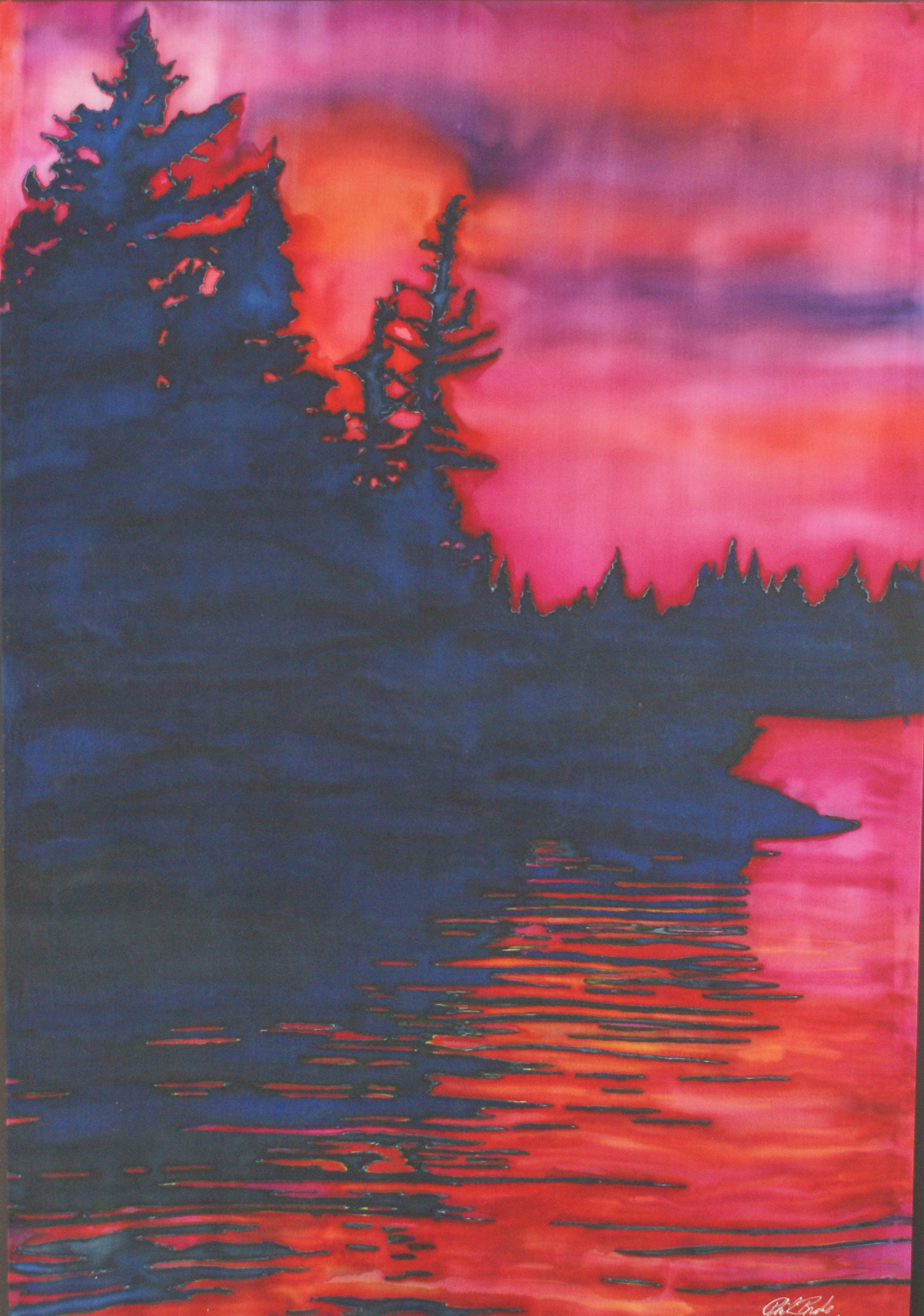 "Sunset on Lake of the Woods, Painting on silk, 29"" x 42"""