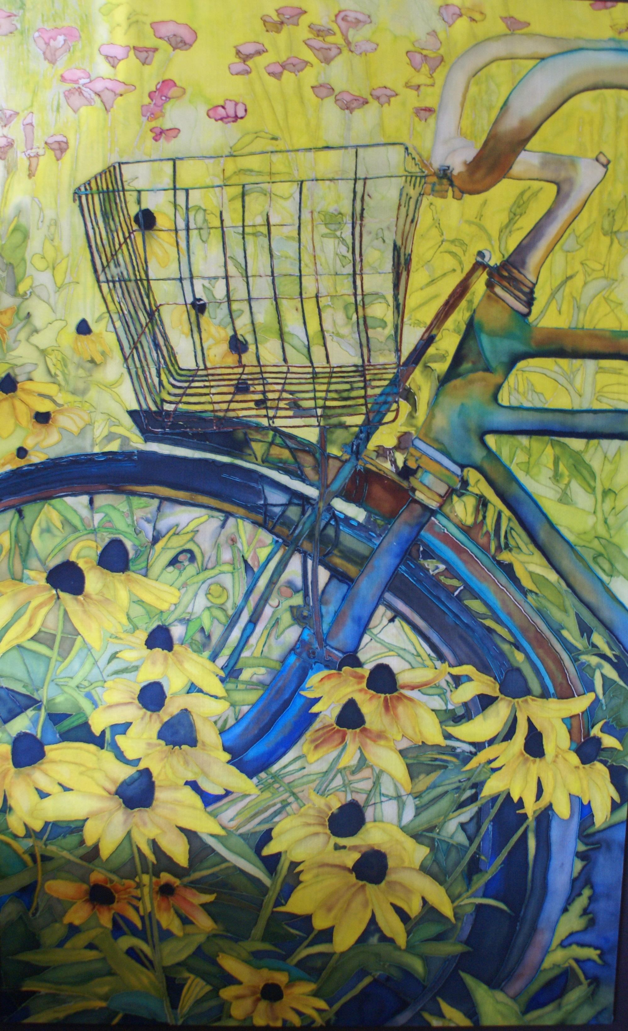 "Gerard's Garden, Painting on silk, 36"" x 58"""