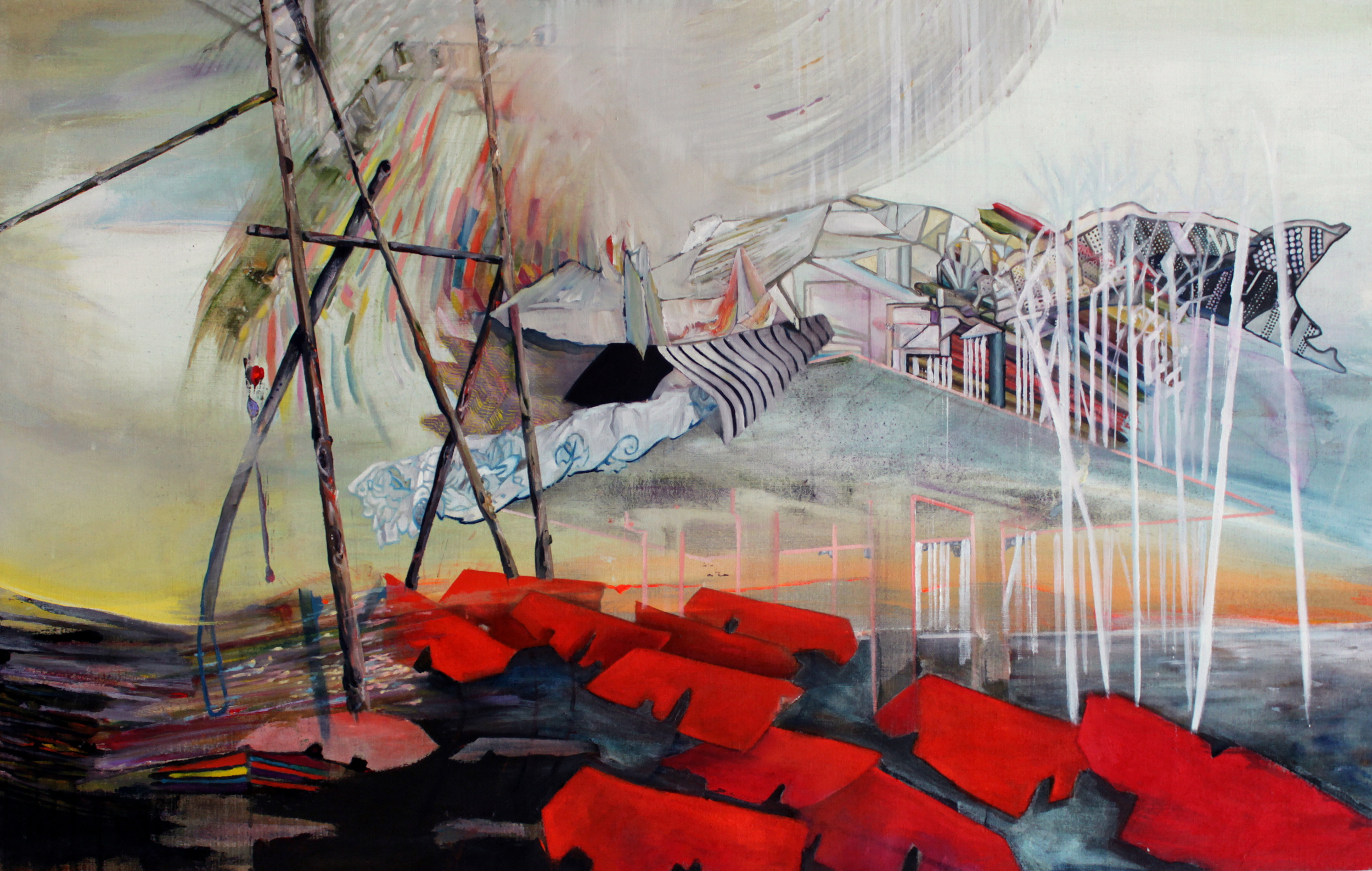 Having Legs to Stand On, Acrylic and Oil on Linen, 48 x 30, 2013, SOLD