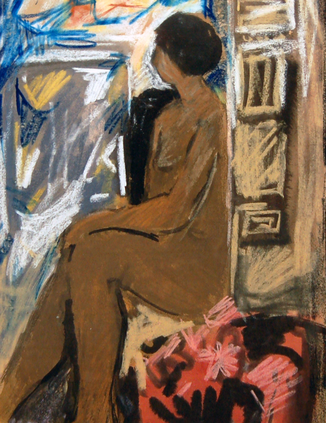 Seated Woman, Pastel, c 1965, 16 x 22, SOLD