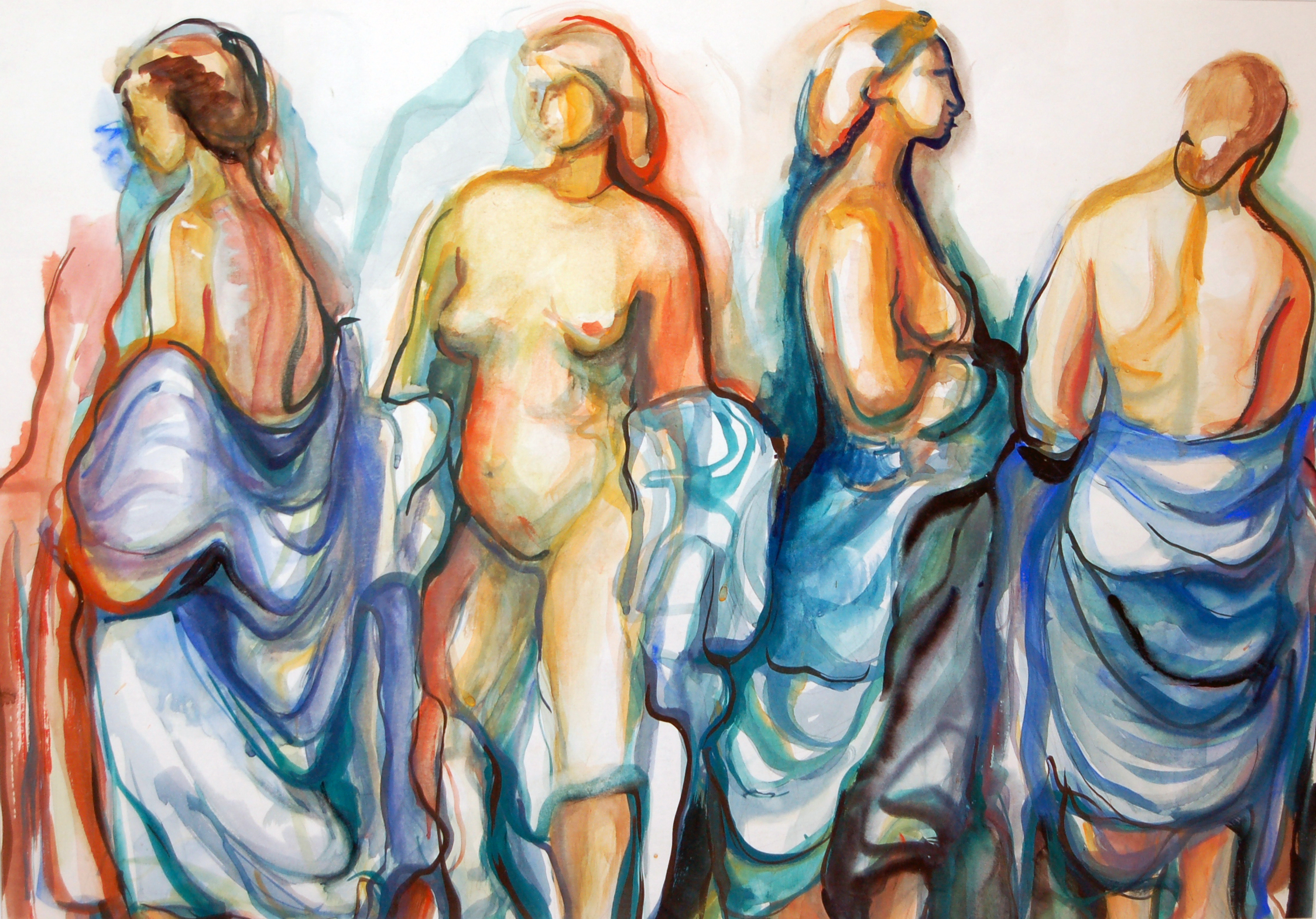 """Untitled (Nudes), Watercolour, c 1962, 28"""" x 20.5"""", SOLD"""