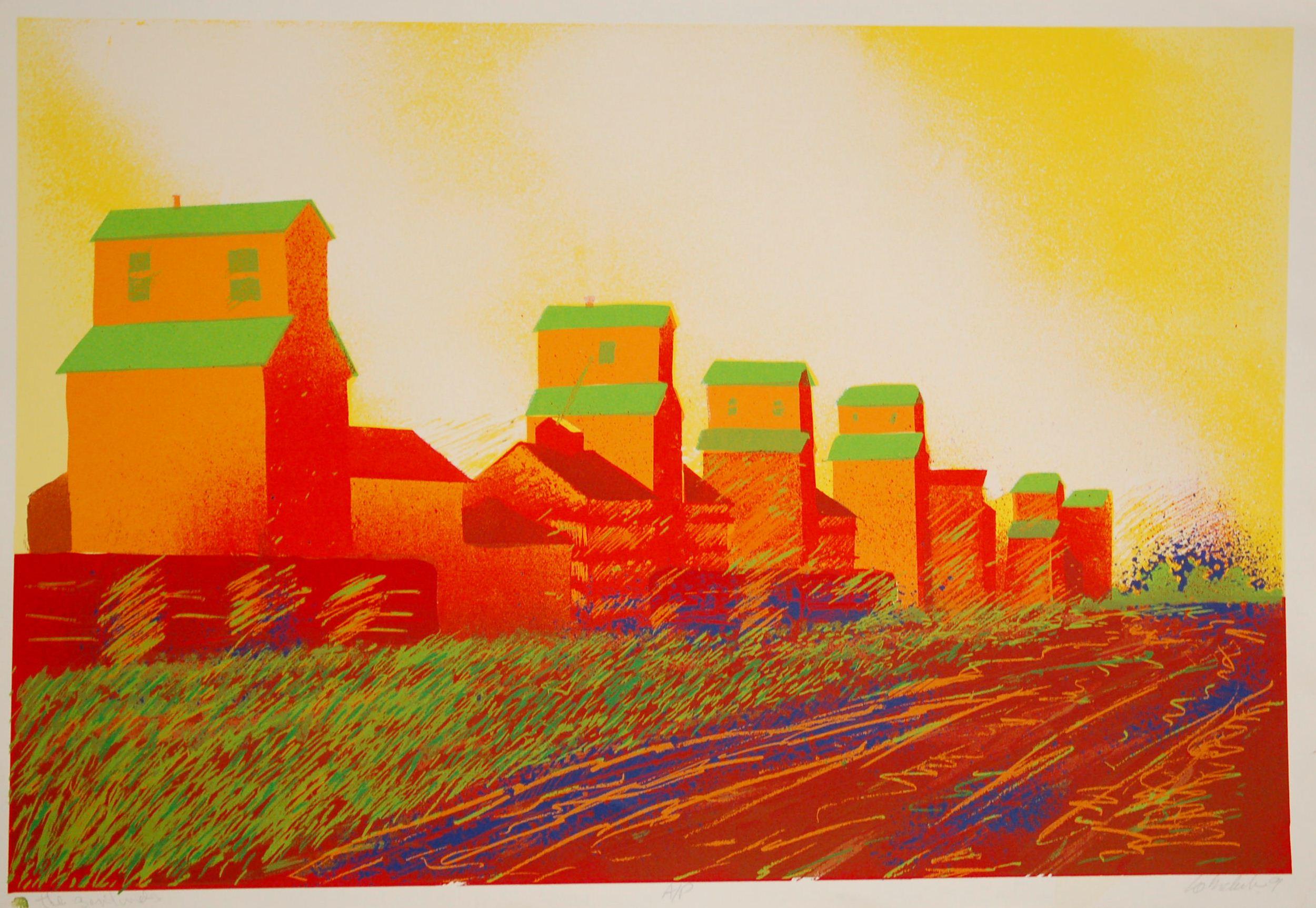 "Grain Elevator Sentinel,Silk Screen on Paper, 38"" x 25"", SOLD"