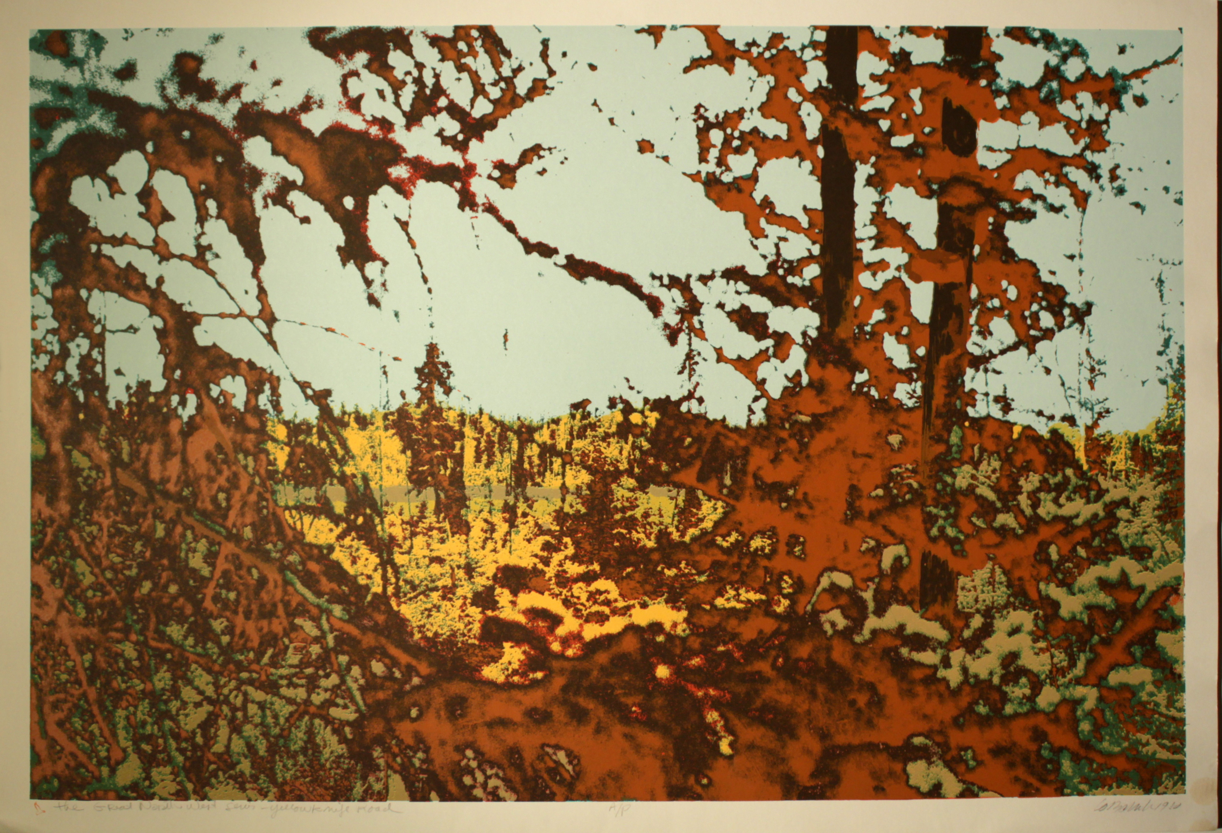 "Great Northwest Series - Yellowknife Road AP, Silk Screen on Paper, 38"" x 25"""