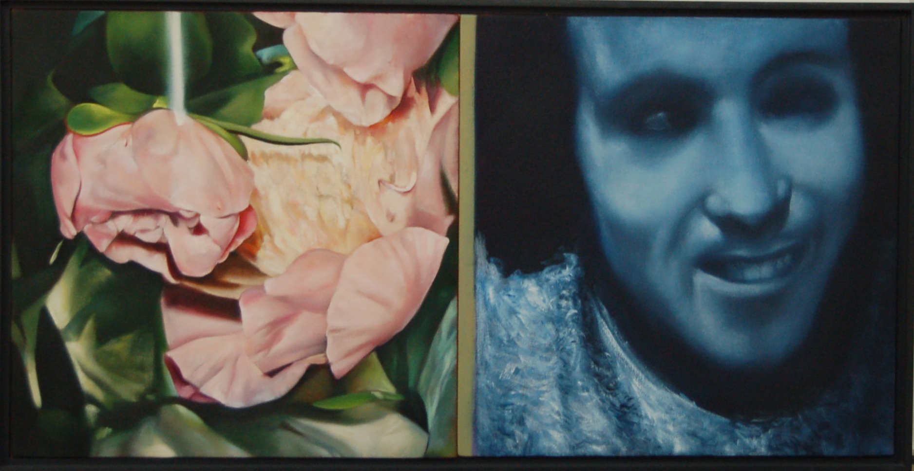 "Drowned Peoney with Calabazas, Oil on Canvas (Framed), 2005, 18"" x 36"""