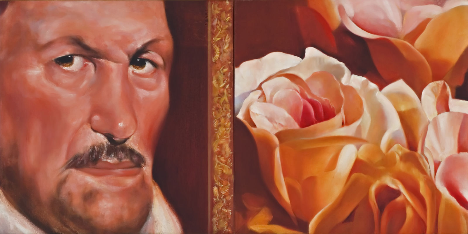 """Innocent with a Rose, Oil on Canvas, 36"""" x 18"""""""