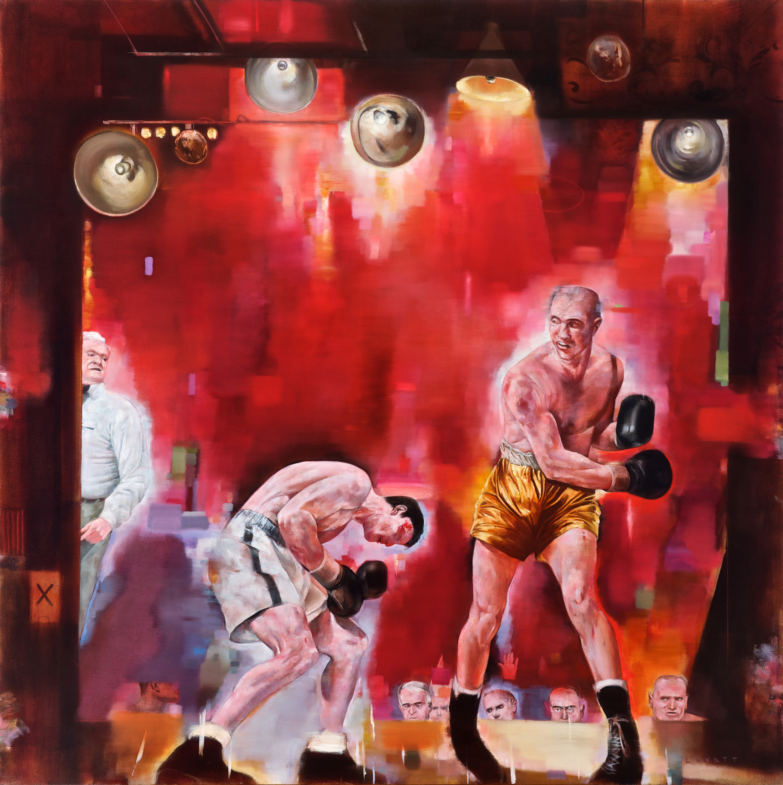 "Seeing Red (Villemain vs. Belleisa), Oil on Canvas, 48"" x 48"""