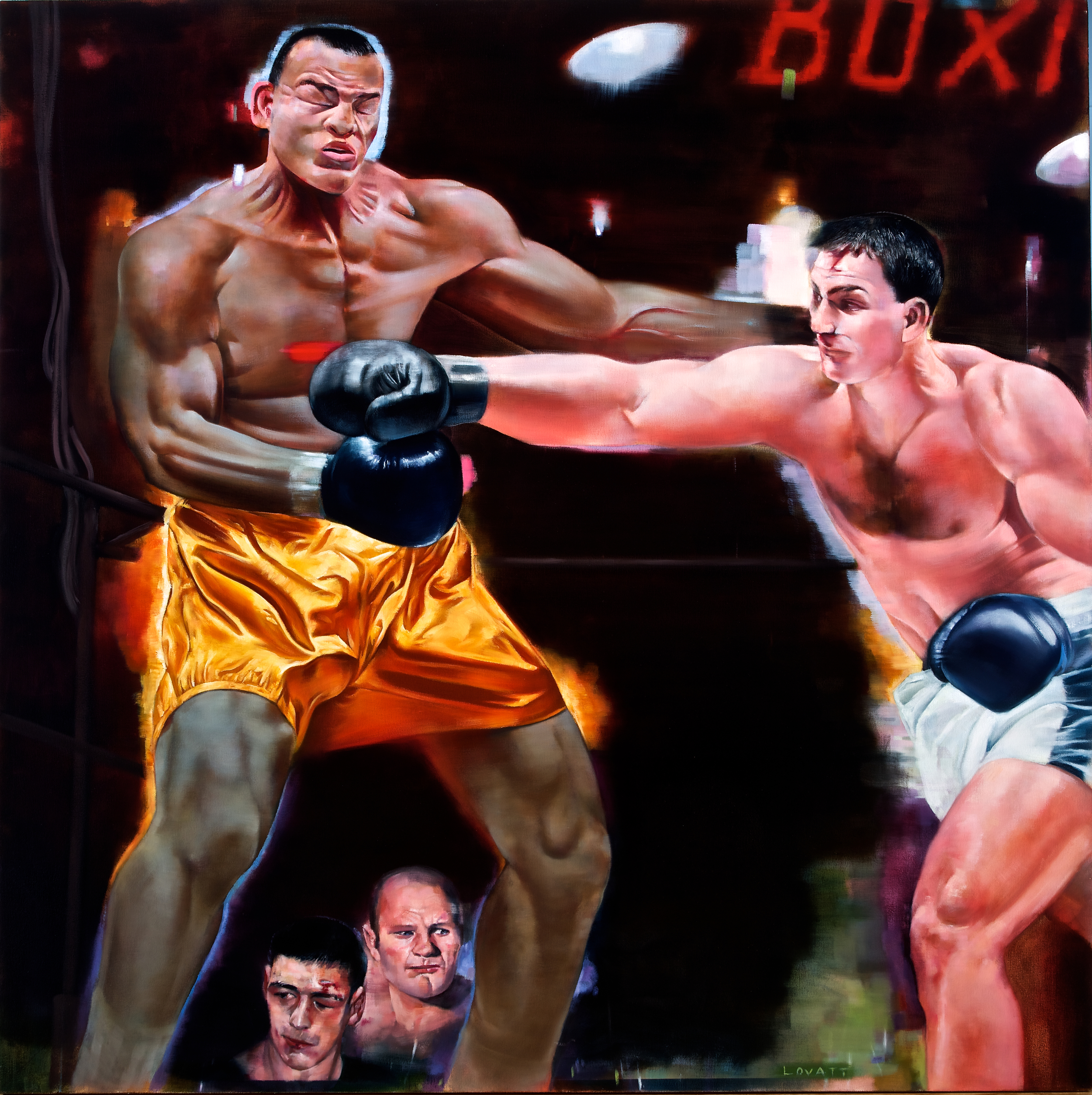 "Judgement Day (Joe Louis vs. Rocky Marciano), Oil on Canvas, 48"" x 48"""