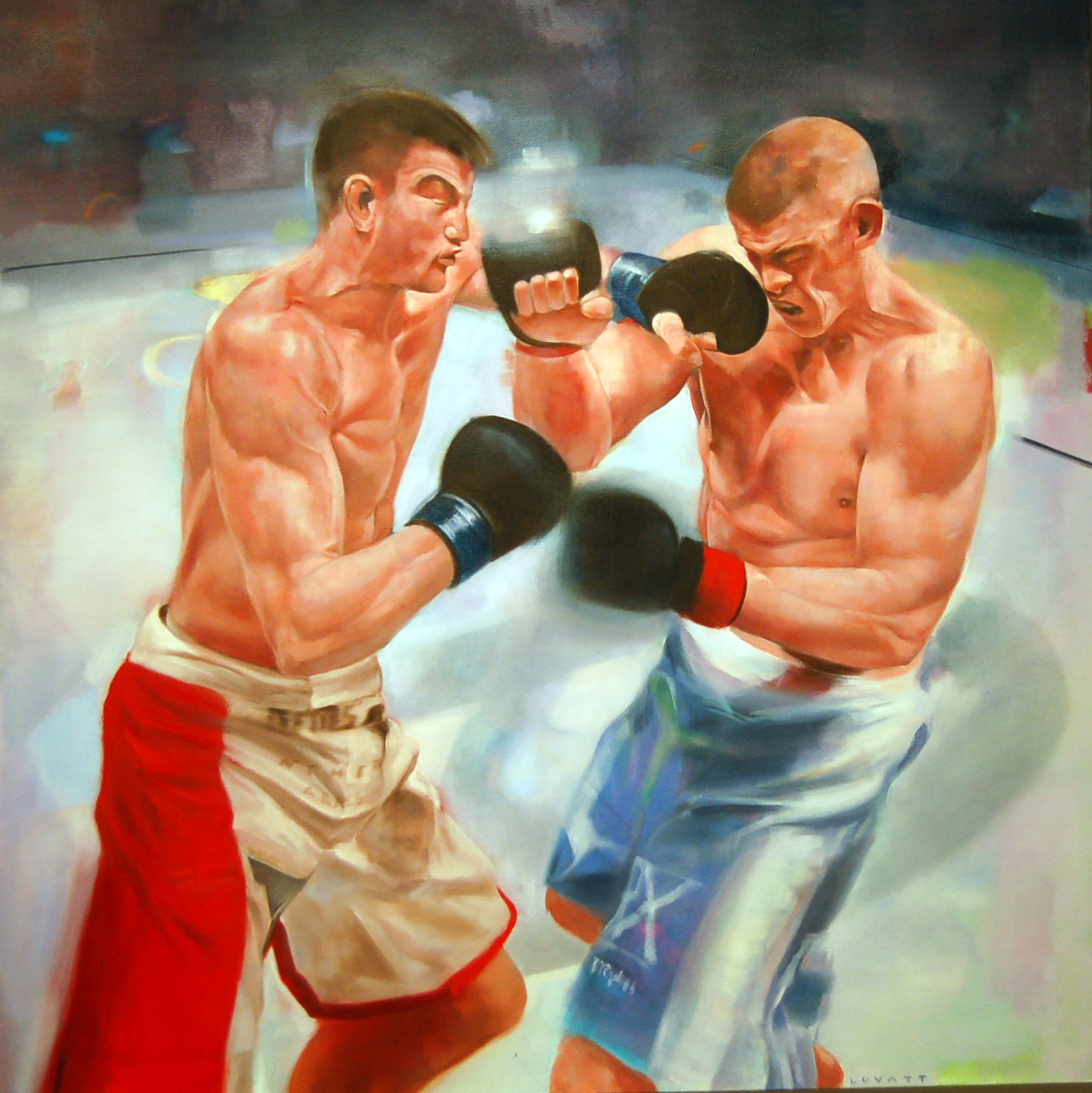 "Title Match (Lauzen vs. Stout), Oil on Canvas, 2013, 42"" x 42"""