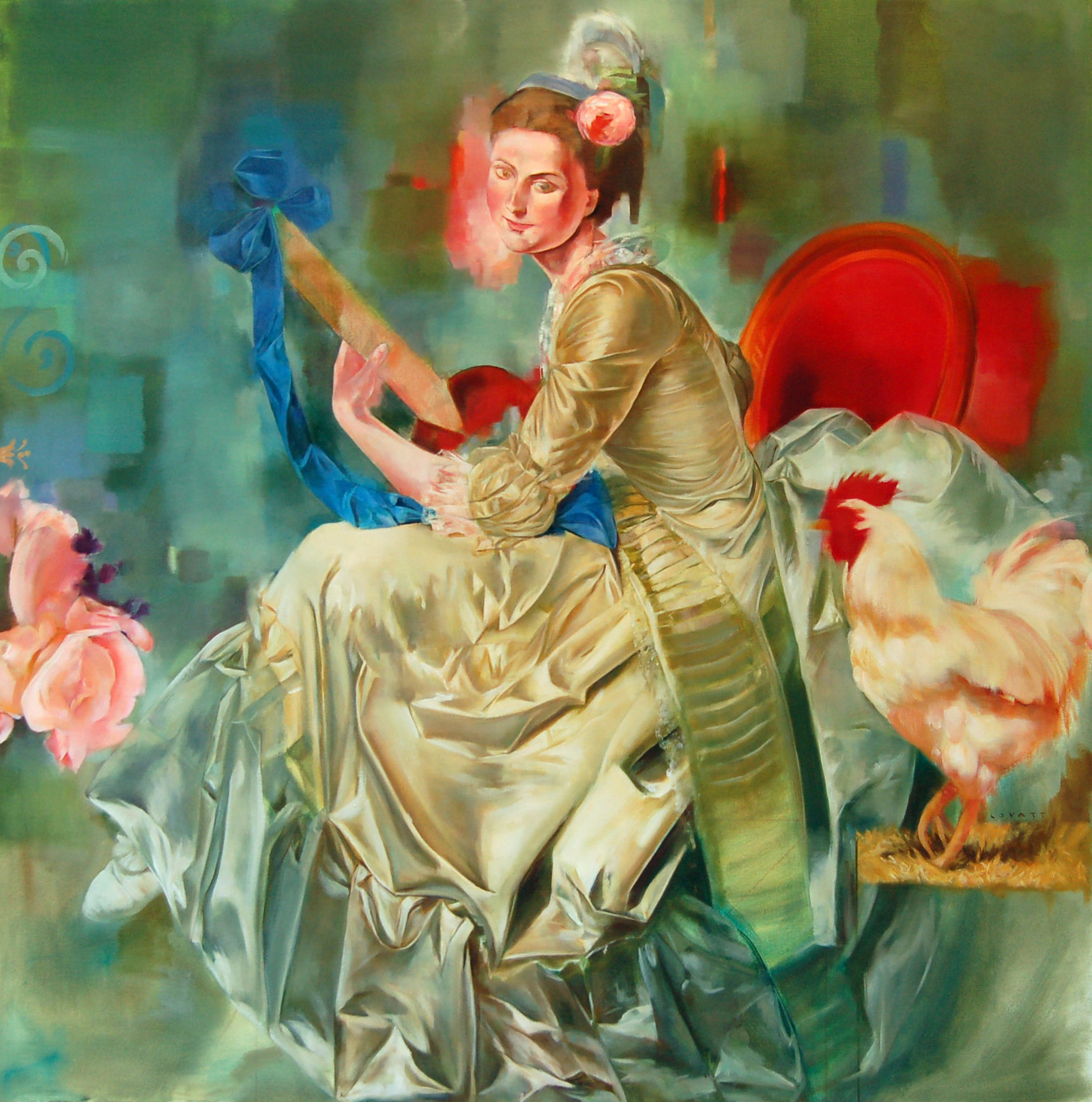 "Plaisir d'Amour, Oil on Canvas, 42"" x 42"""