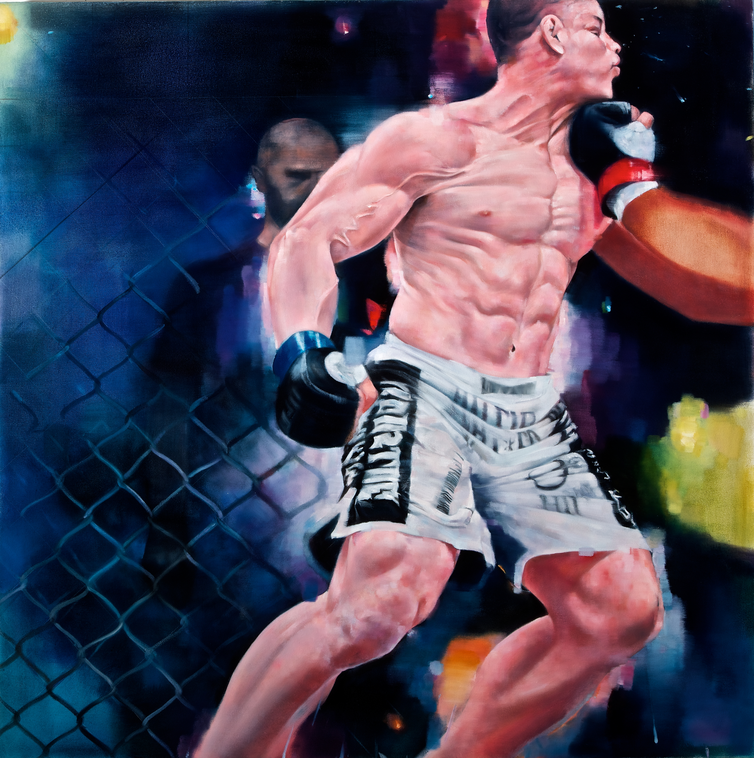 "Punch (Wanderlei Silva), Oil on Canvas, 42"" x 42"""