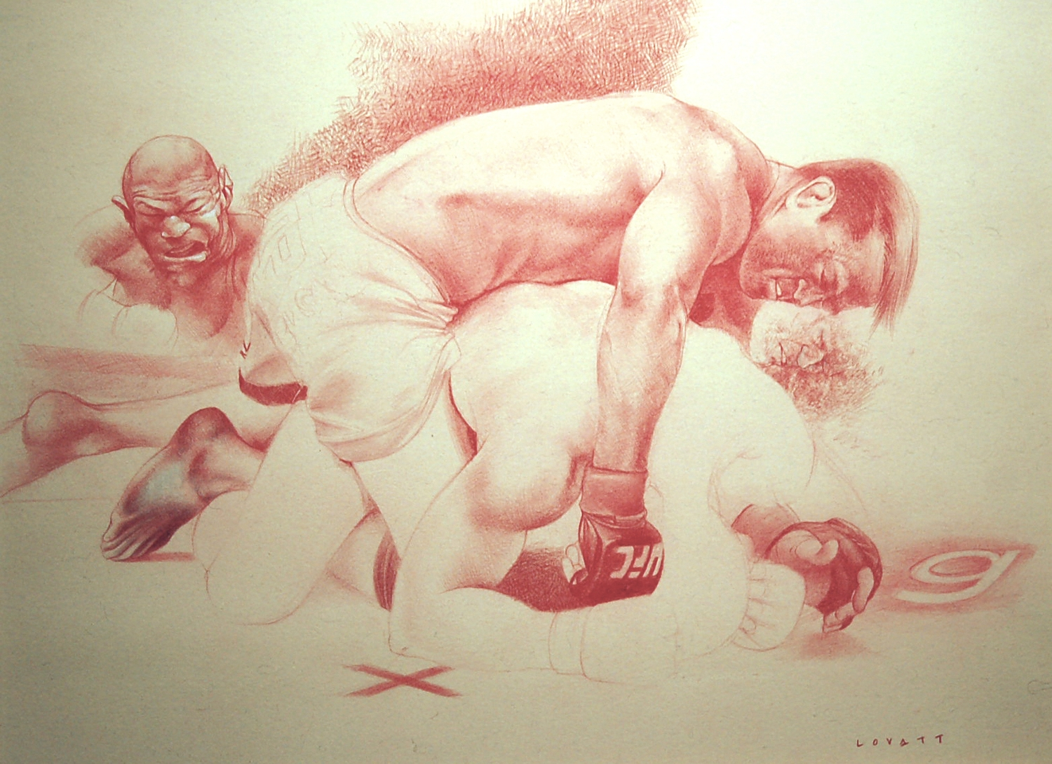 "Ground & Pound, Conte on Paper, 16.75"" x 12.75"", SOLD"