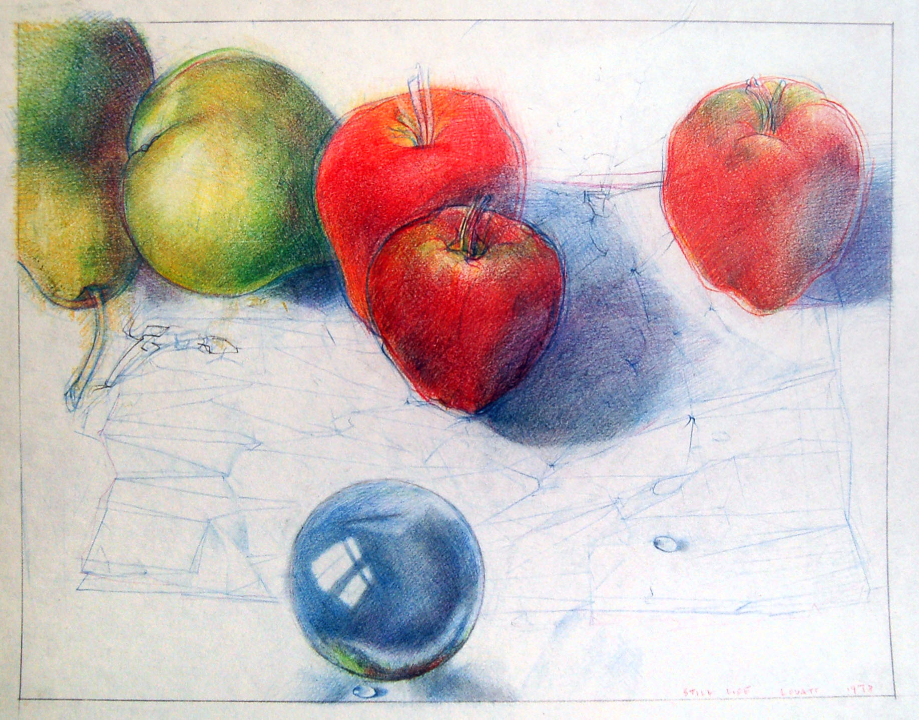 """Still Life (Apples and Pears), Coloured Pencil, 11.5"""" x 9.5"""""""