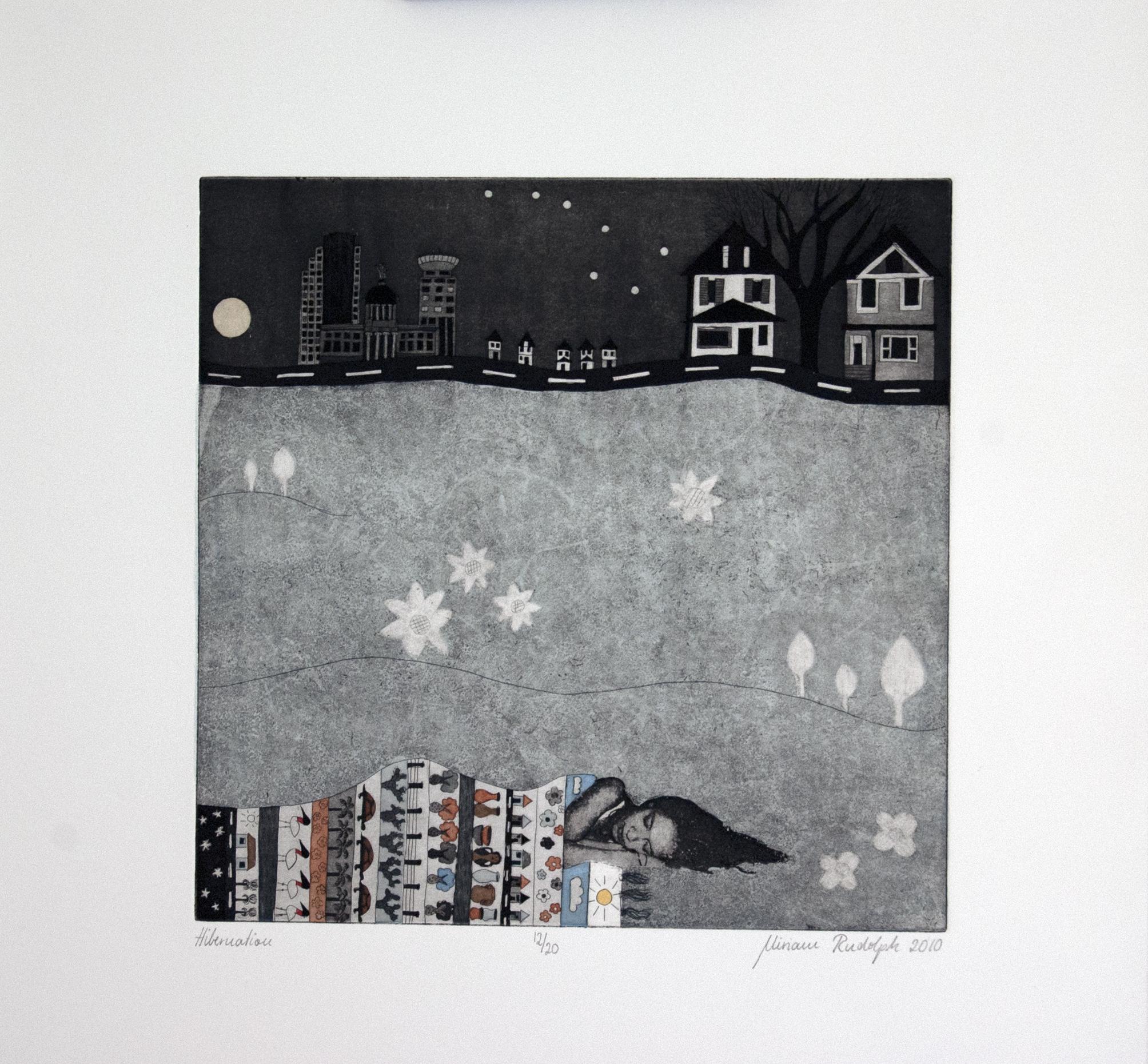 Hibernation, Etching screenprint hand colored printed on pescia magnani paper, 30 x 30cm