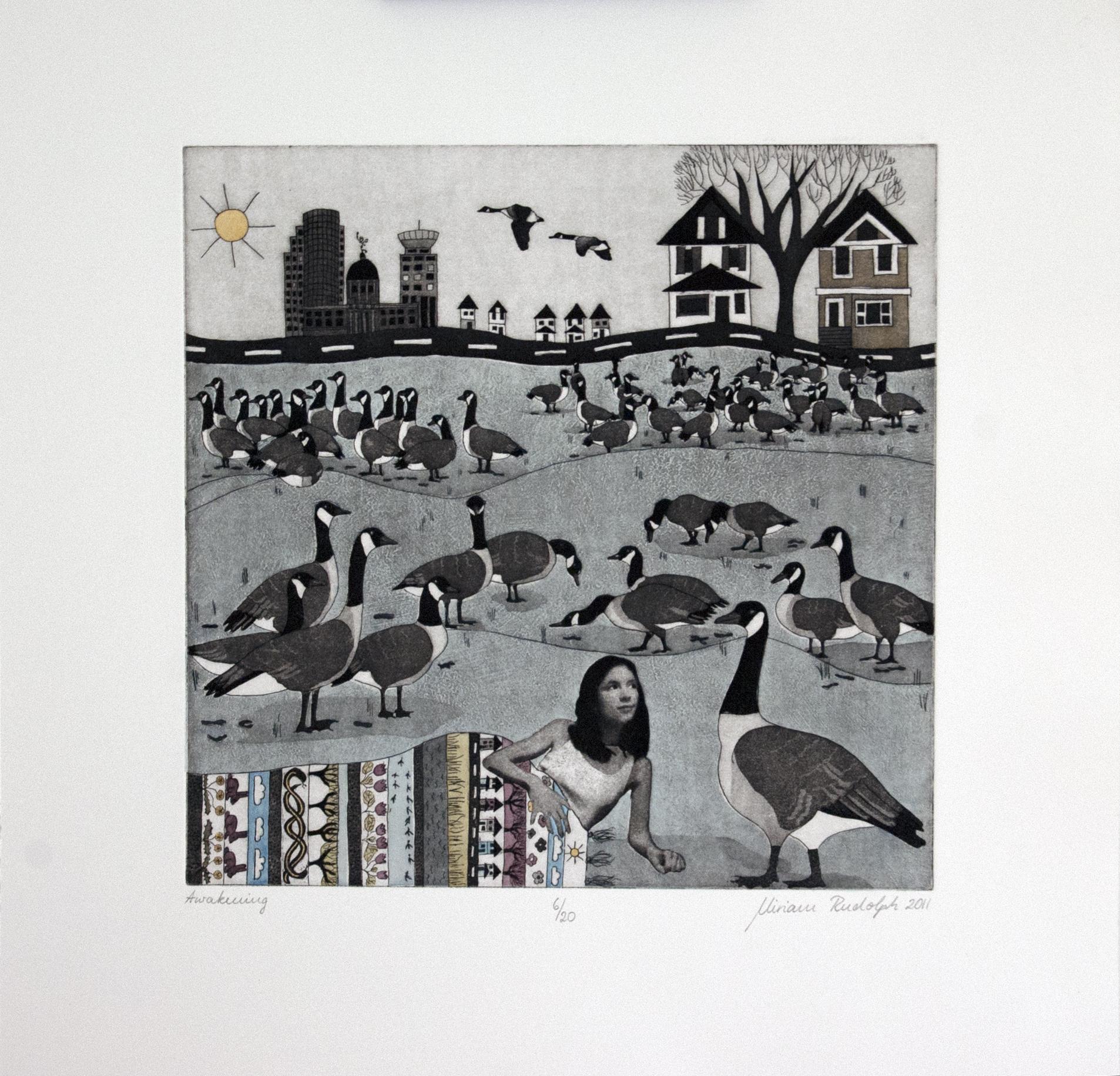 Awakening, Etching screenprint handcolored printed on pescia magnani paper, 30 x 30cm