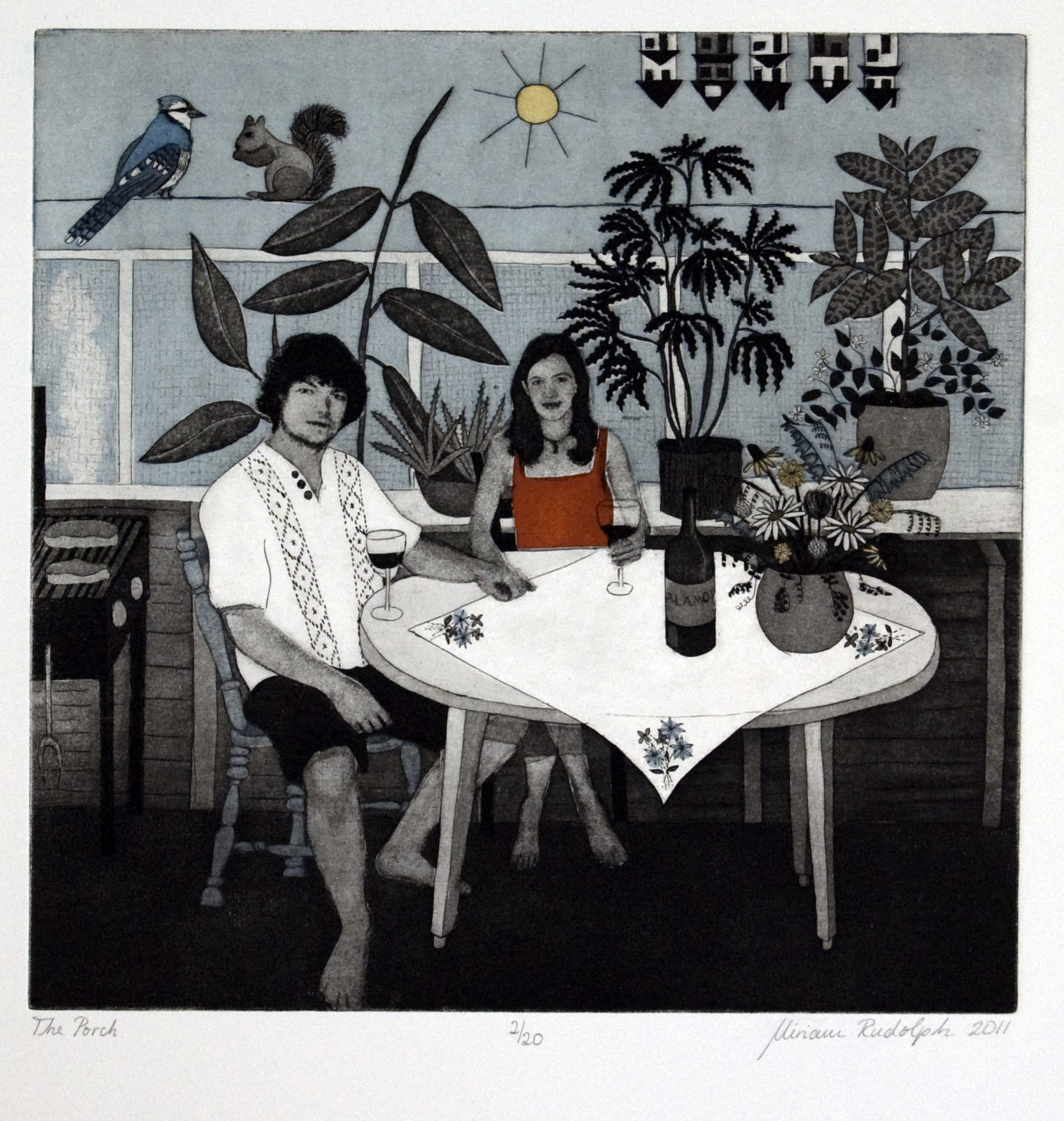 The Porch, Etching chine-colle screenprint hand coloured printed on pescia magnani paper, 30cmx 30cm