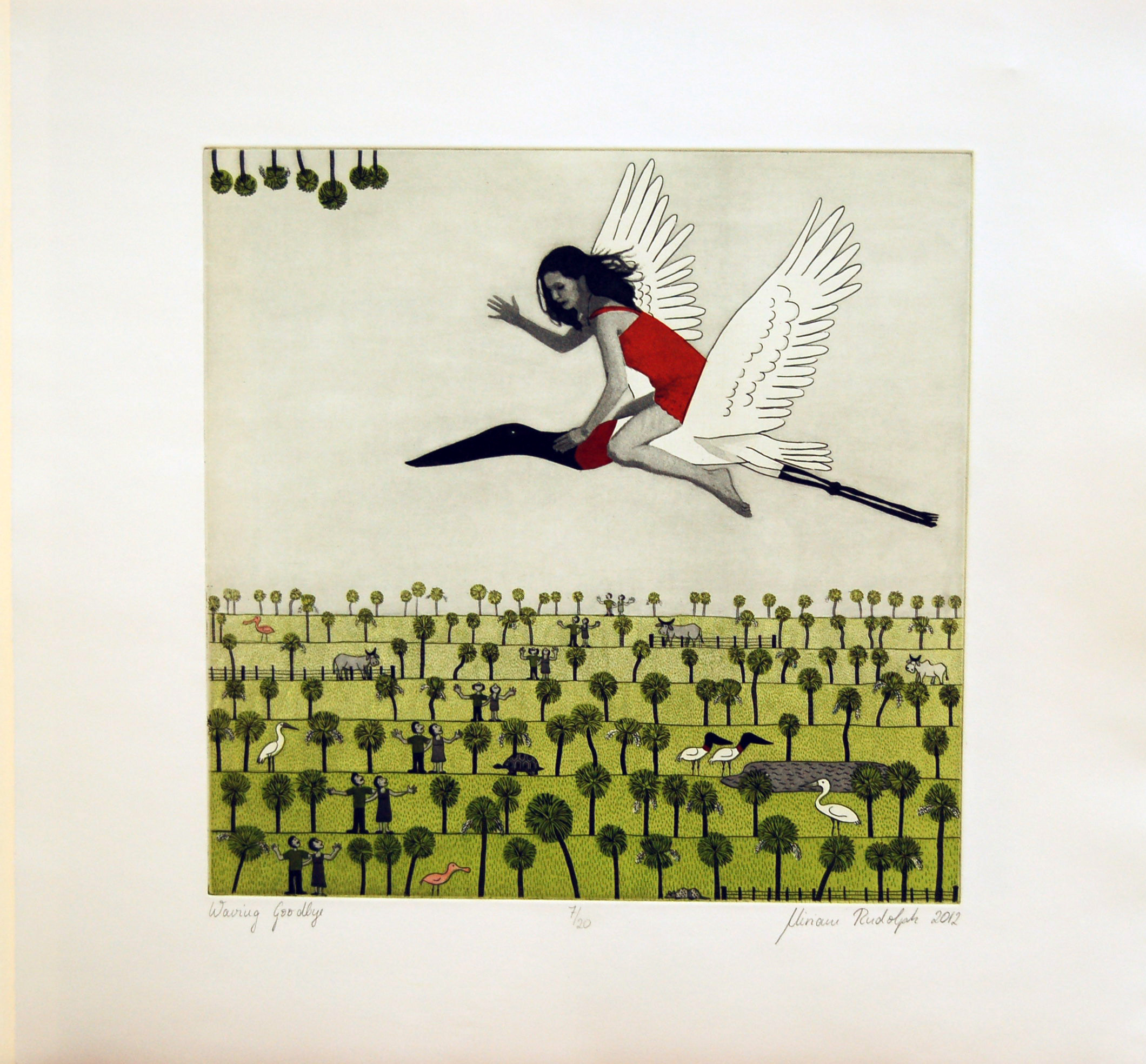 Waving Goodbye, Double-plate colour etching chine-colle hand coloured printed on pescia magnani paper, 30cm x 30cm