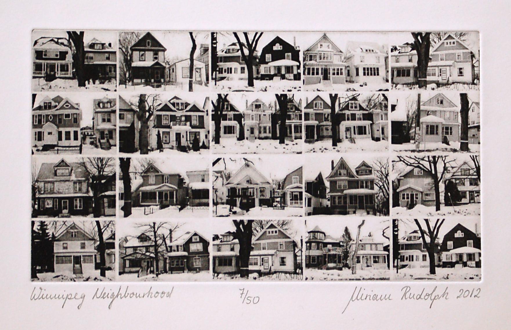 Winnipeg Neighbourhood, Polymer Photogravure, 20cm x 11.25cm, 2012