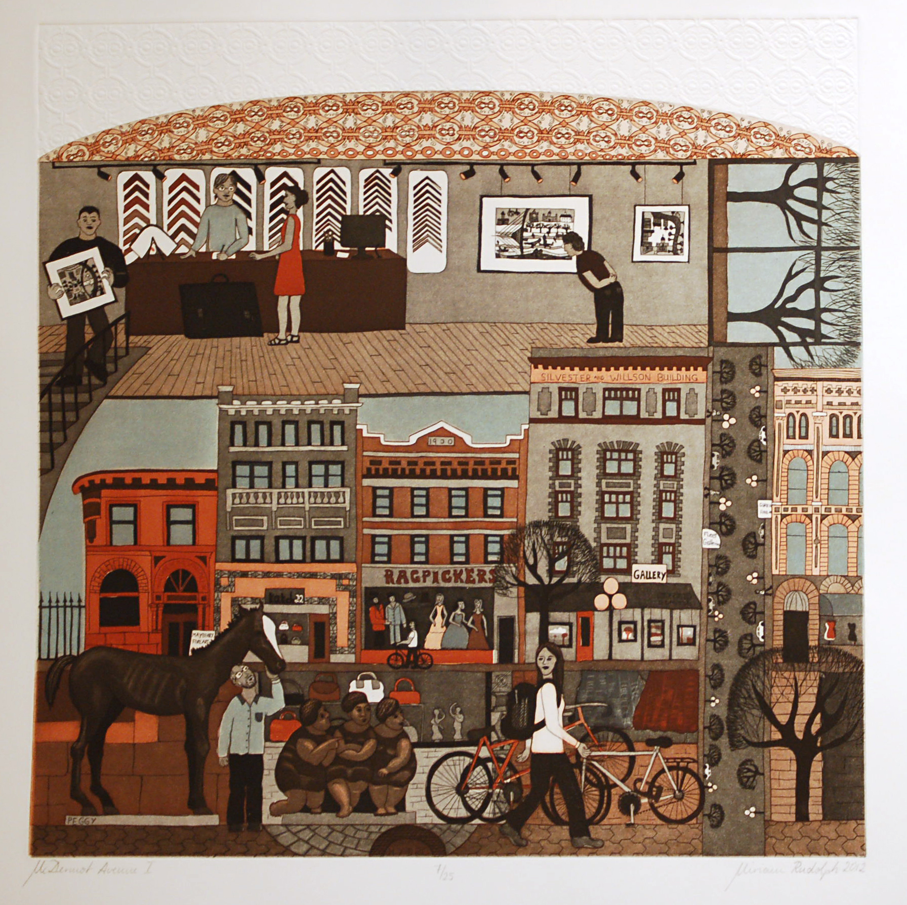 McDermot Avenue I, Double-Plate Colour Etching, Relief Roll through Stencil, 45.5cm x 45.5cm, 2012
