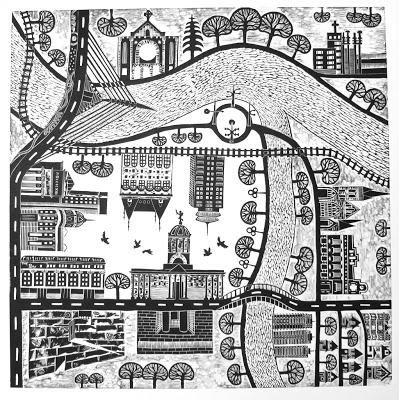 My Winnipeg IV, Linocut - Revere Paper, 2013, 60cm x60cm