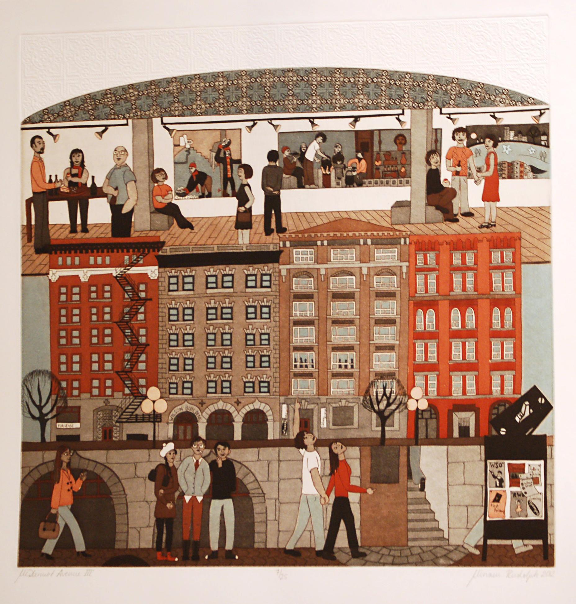 McDermot Avenue, Double Plate Colour Etching Relief Roll through Stencil, 45.5cm x 45.5cm, 2012