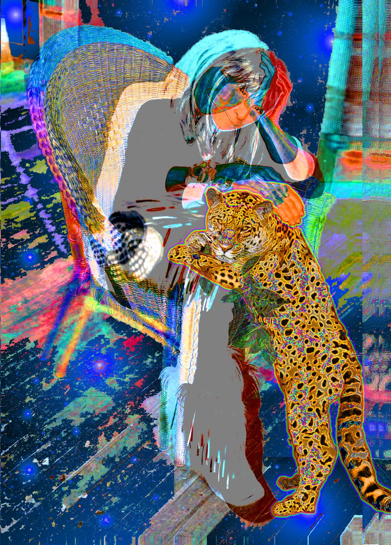 "Buffy Ayahuasca with Jaguar I, 40"" x 55.4"", Kodak Metallic Print"