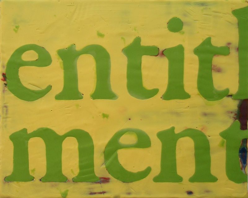 "Entitlement, Encaustic on Canvas, 10"" x 8"""