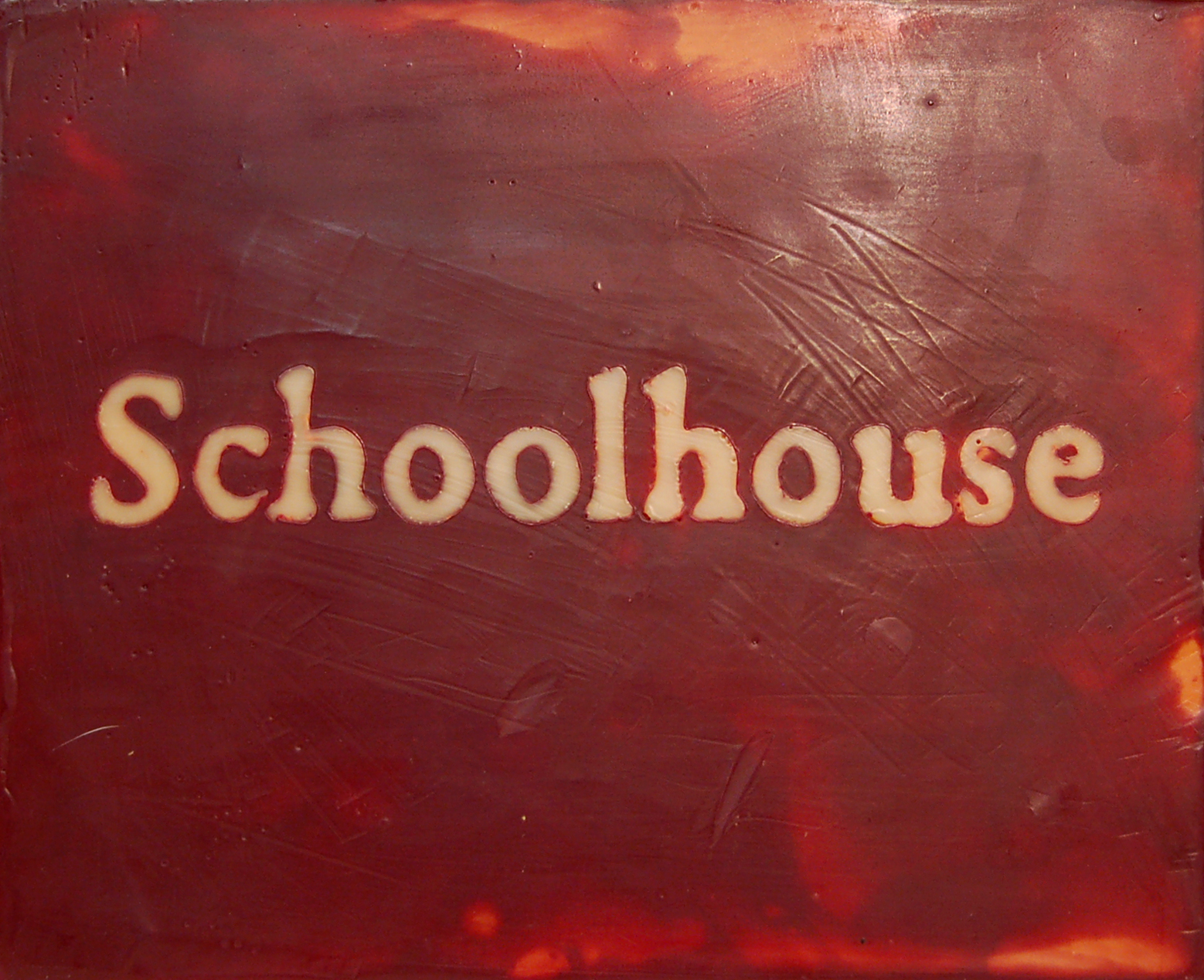 "Schoolhouse, Encaustic on Canvas, 10"" x 8"""
