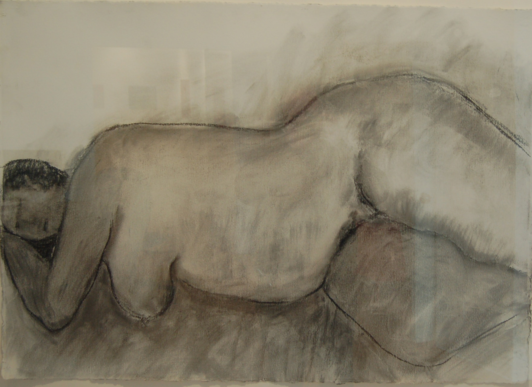 """Large Nude, Charcoal on cotton rag paper, 41"""" x 29"""", SOLD"""