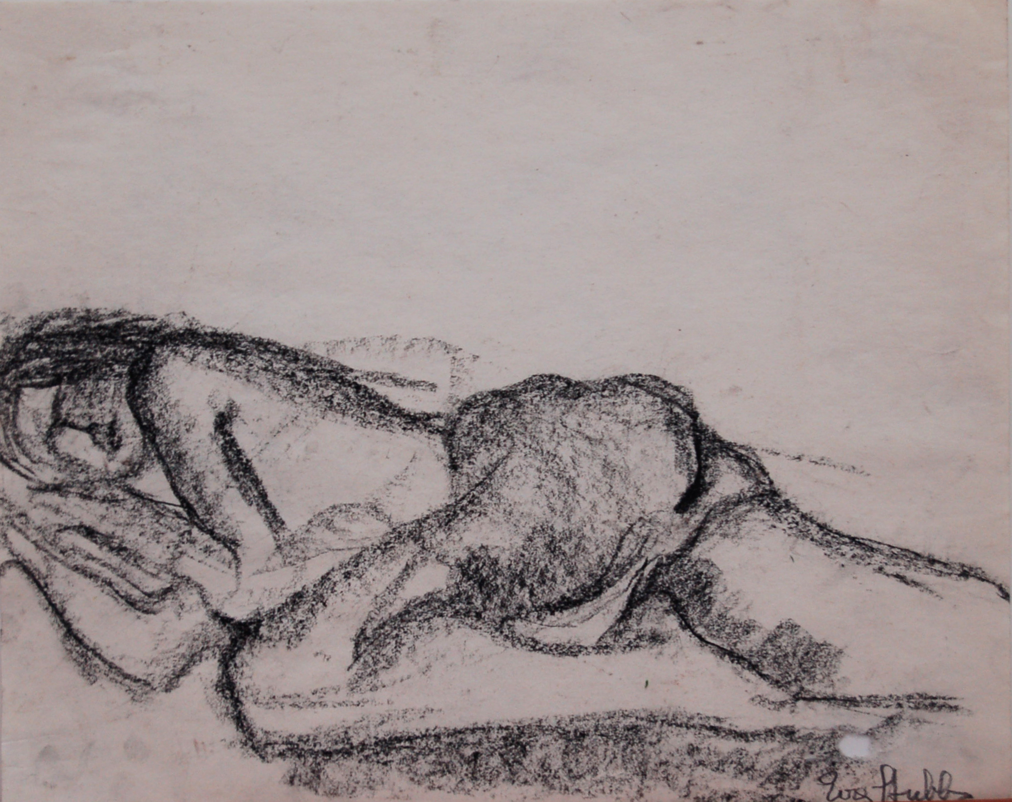 """Reclining Nude, Charcoal on paper, 13.75"""" x 11"""" SOLD"""