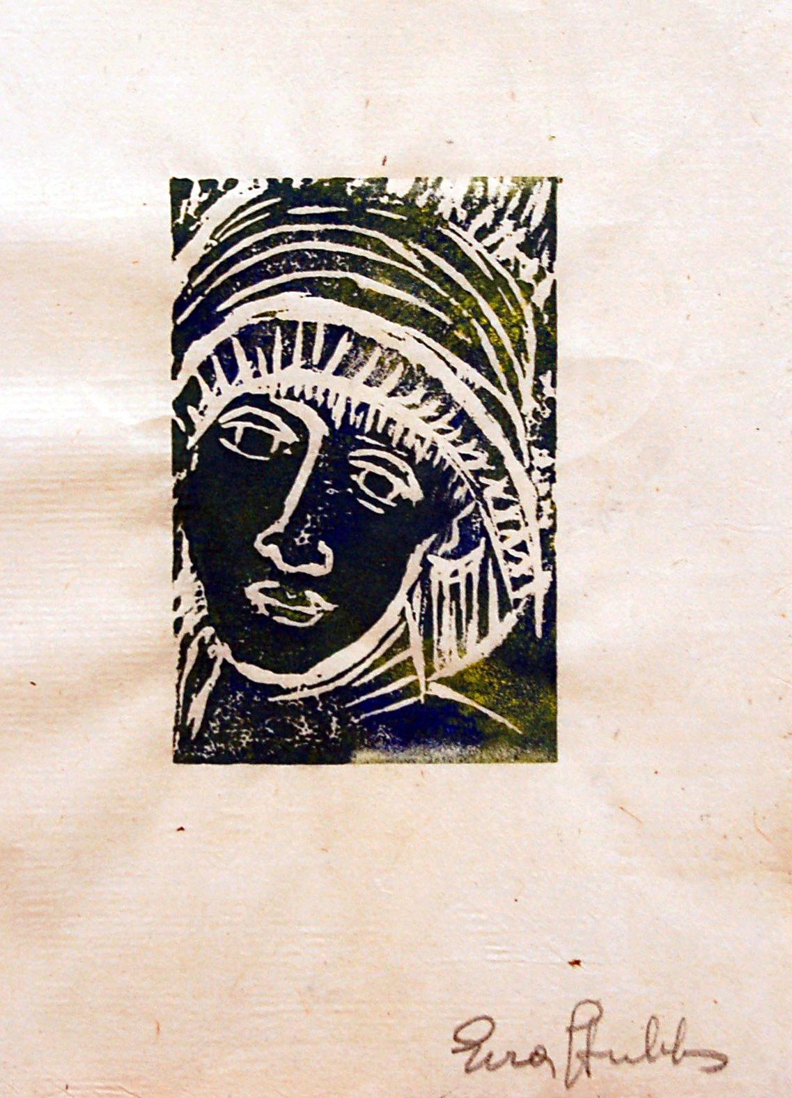 "Face-coloured, ca1980, Print on Parchment, 4"" x 6.5"""