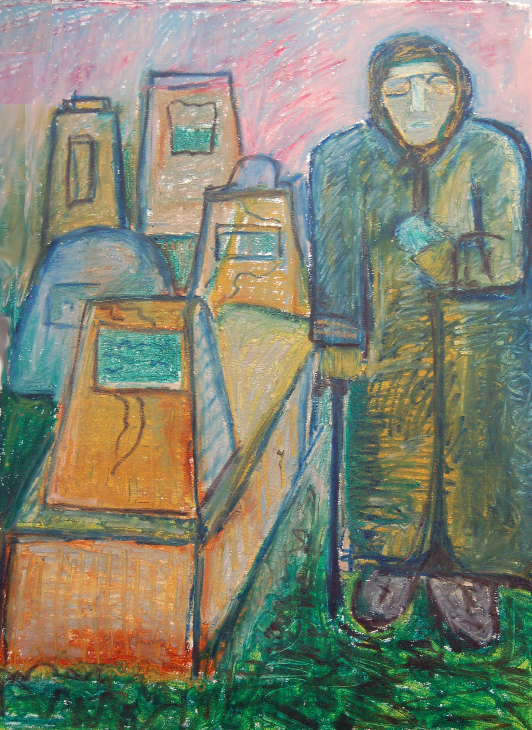 """Tombs, ca1980, Pastel on paper, 29.5"""" x 41"""""""