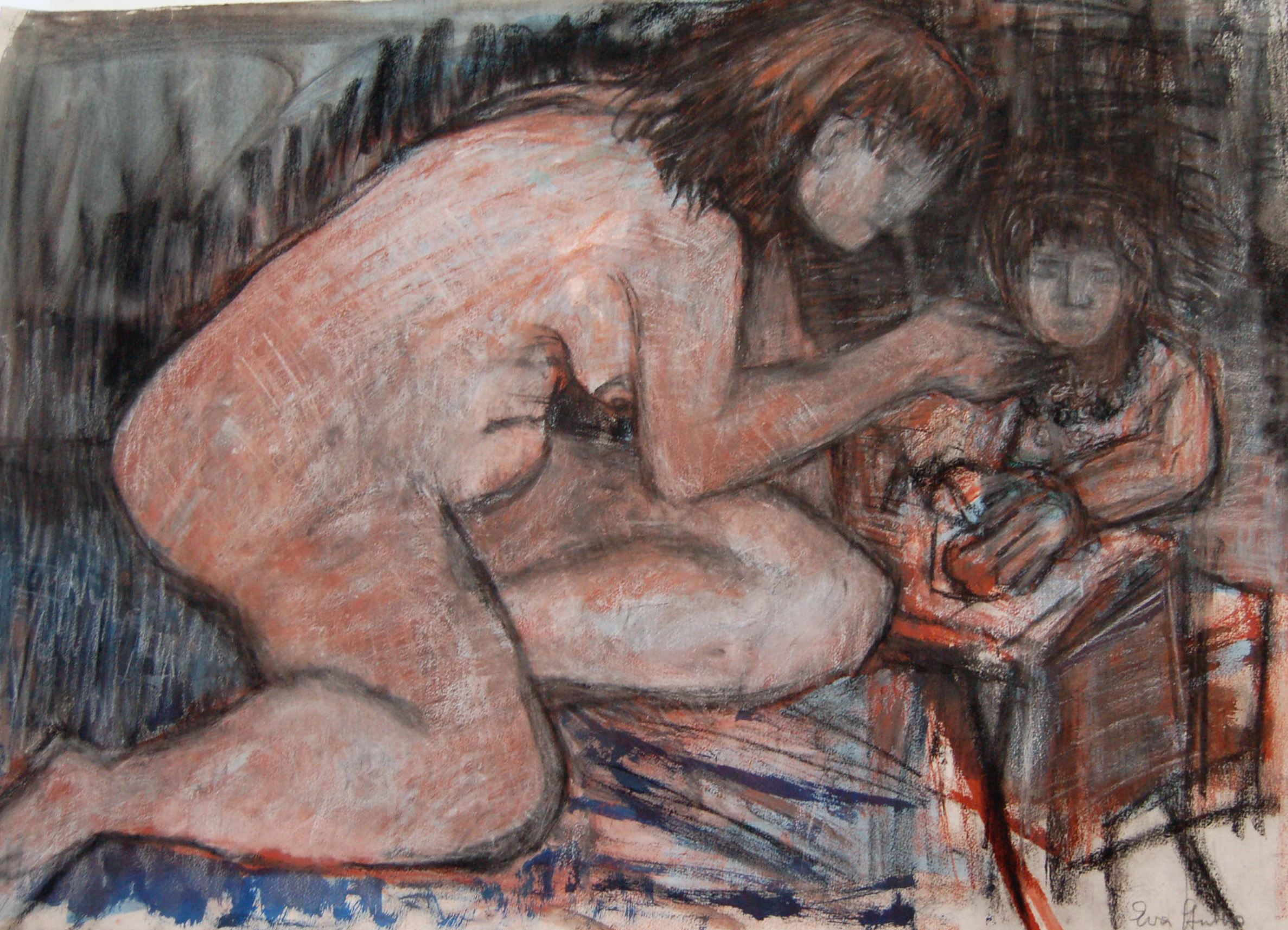 "Two Women, 1978, Pastel on paper, 41"" x 29.5"""