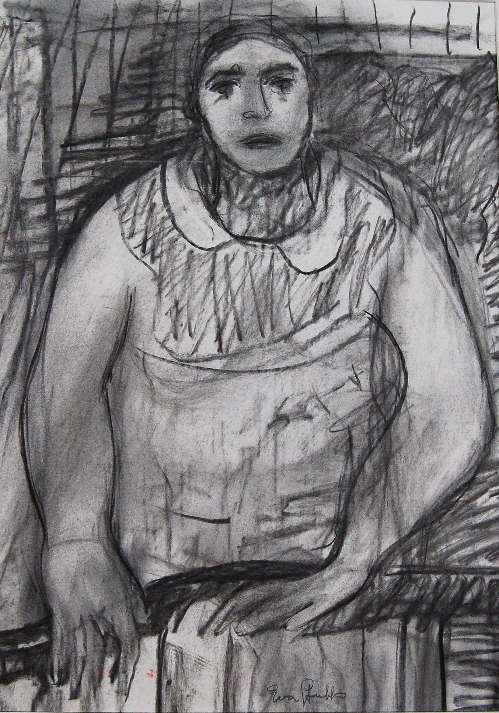 "Woman, ca1980, Pastel on paper, 17"" x 23"""
