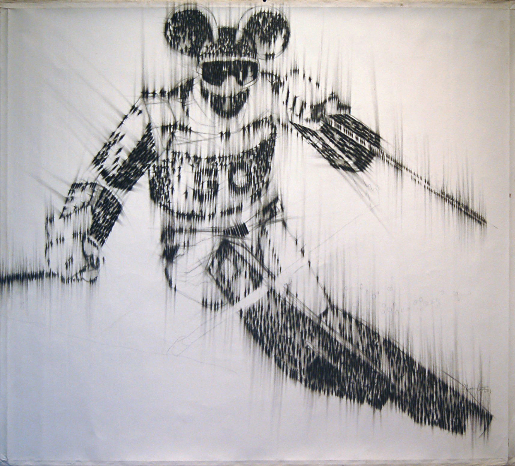 Cuban Ski Champion, Charcoal pencil on canvas, 150cm x 135cm