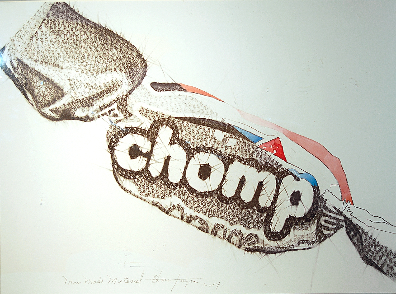 Man Made Material Series #2 (Chomp), Charcoal and Watercolour on Paper, 2014, 61cm x 45cm