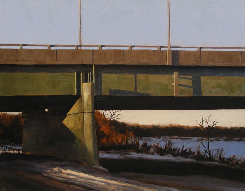 "Perimeter Bridge, Oil on canvas, 28"" x 22"""