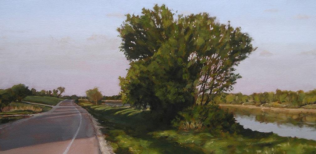 "Still River, Oil on Paper, 2010, 28"" x 14"""